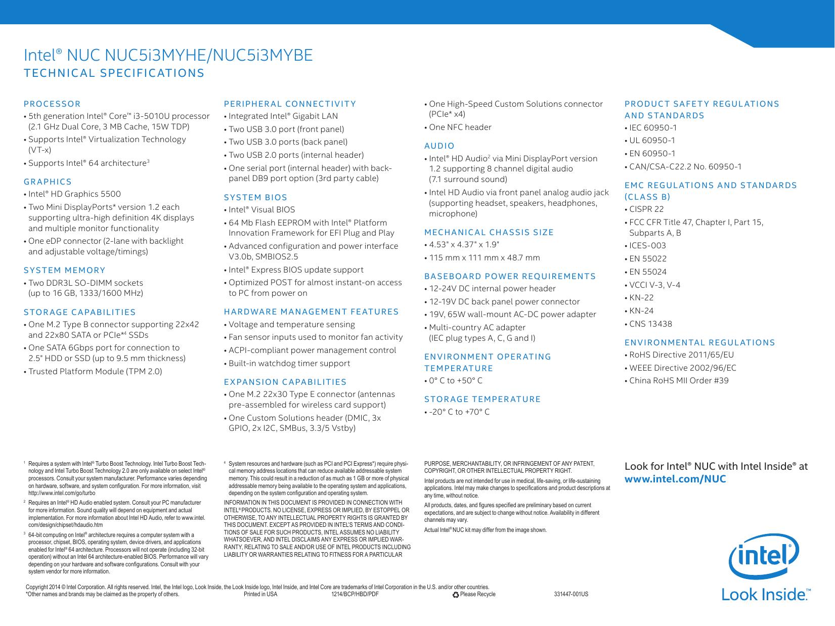 Intel® NUC Kit NUC5i3MYHE and Intel® NUC Board | manualzz com