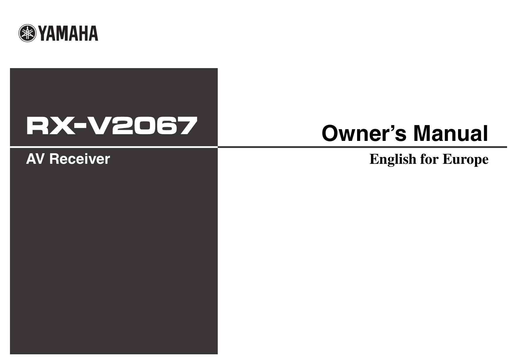 Yamaha Rx V2067 Owner S Manual Manualzz