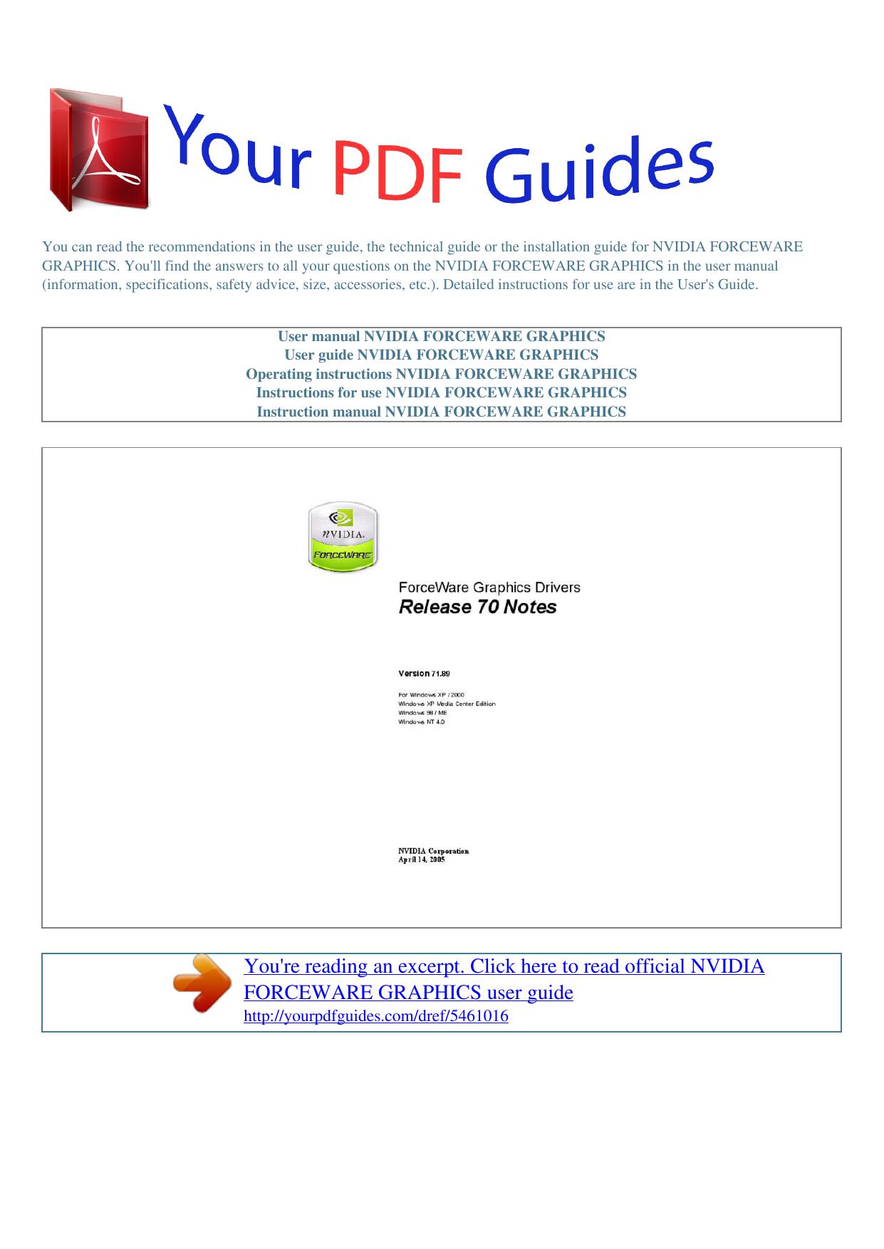 Operating instructions NVIDIA FORCEWARE GRAPHICS | manualzz com