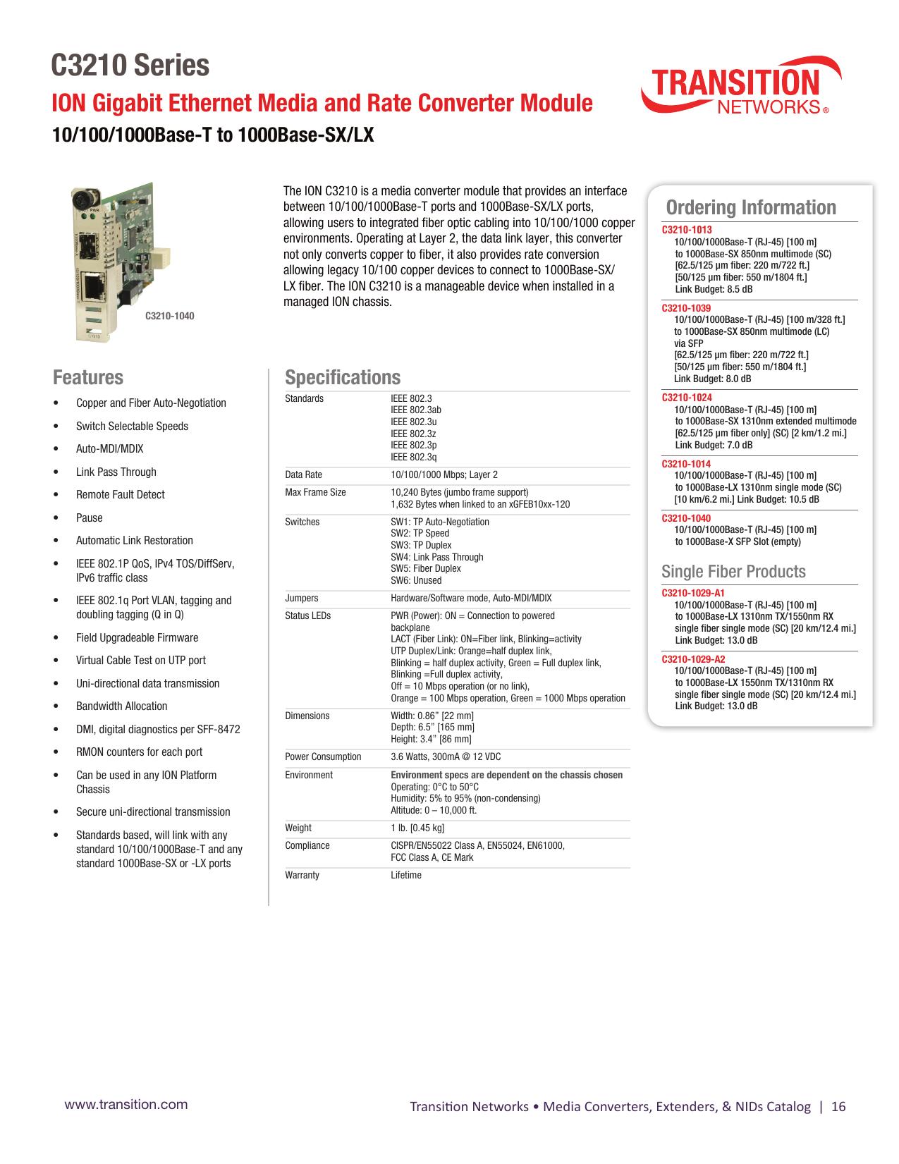 C3210 Series - Transition Networks | manualzz com