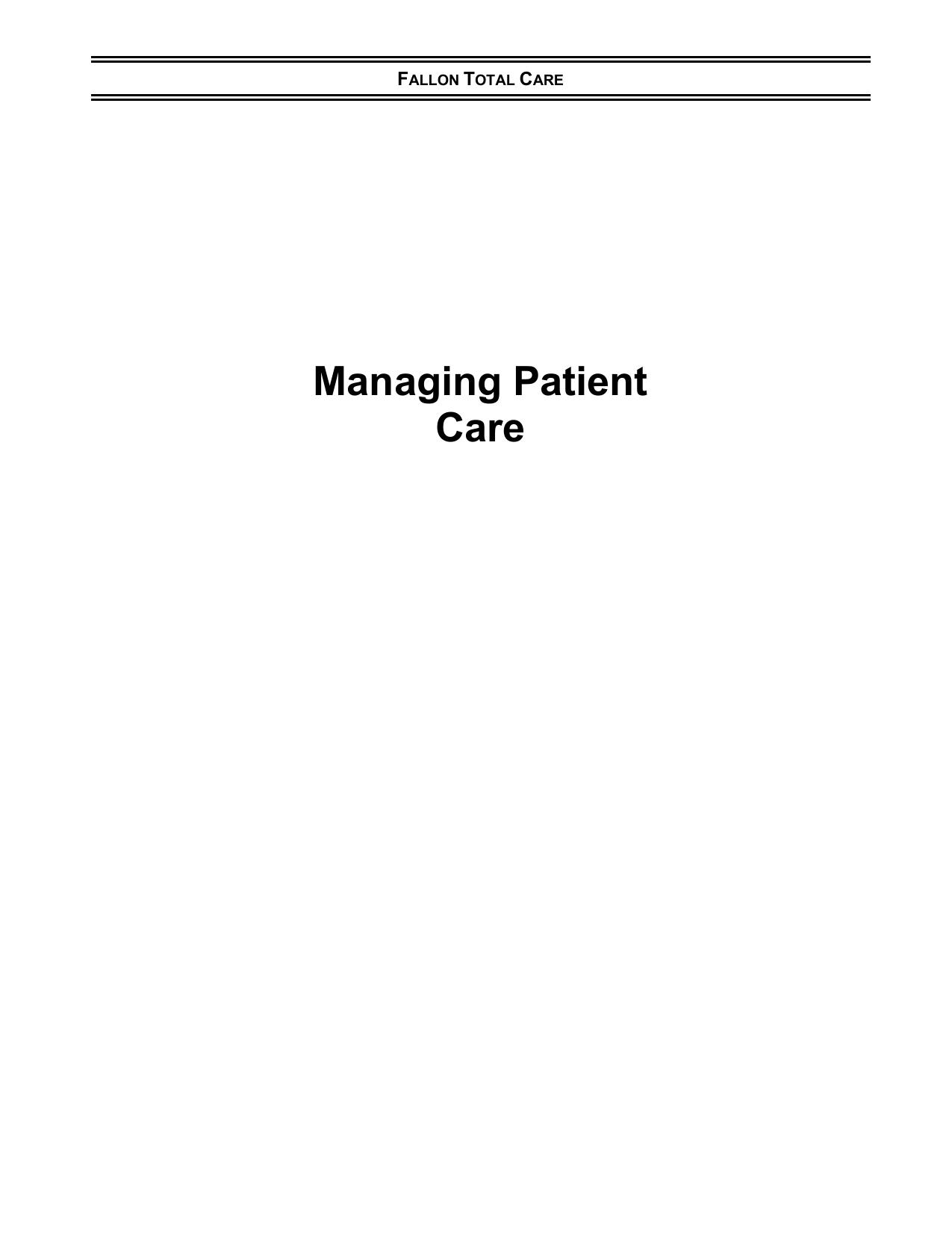 Managing Patient Care - FCHP Provider Manual | manualzz com