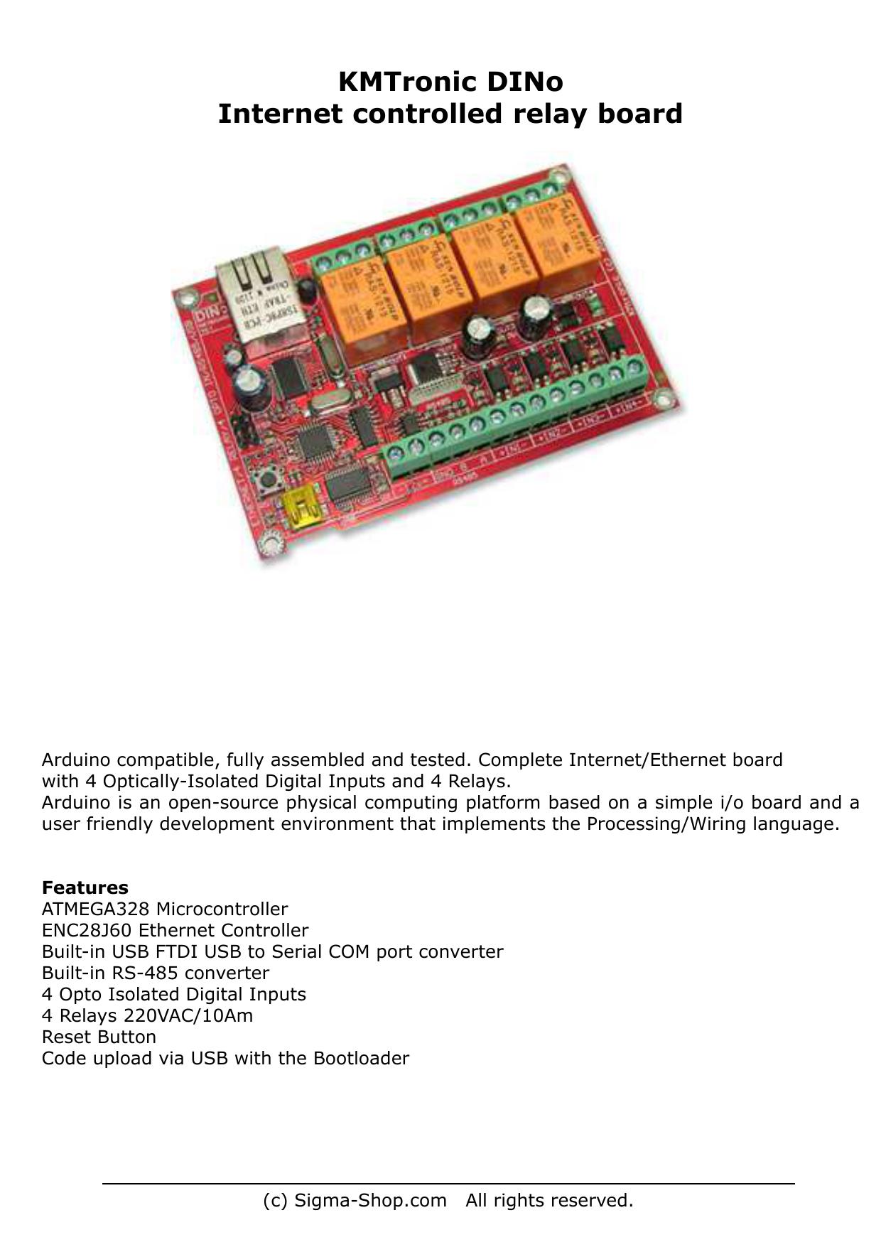 KMTronic DINo Internet controlled relay board   manualzz com