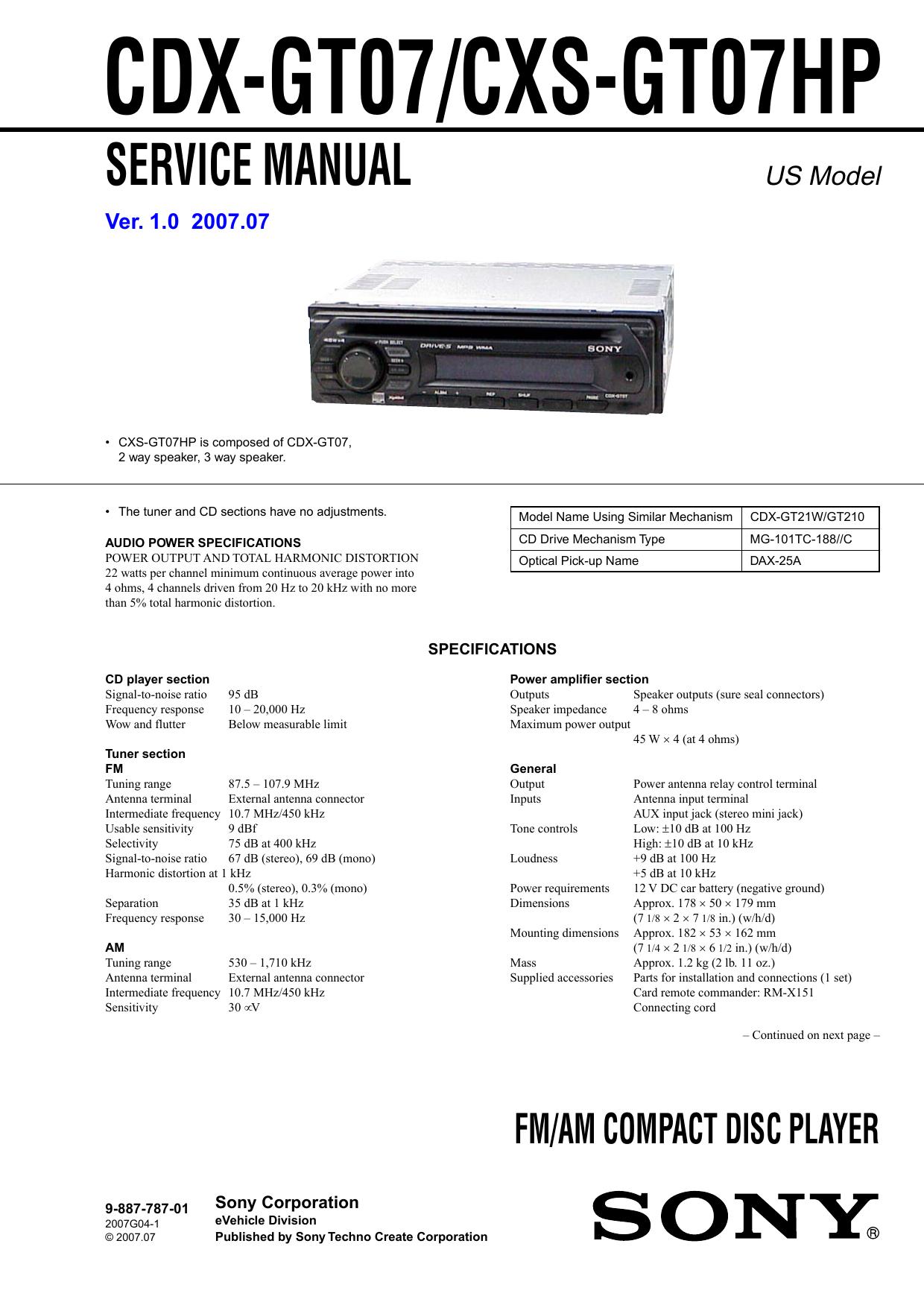 CDX-GT07/CXS | Manualzzmanualzz