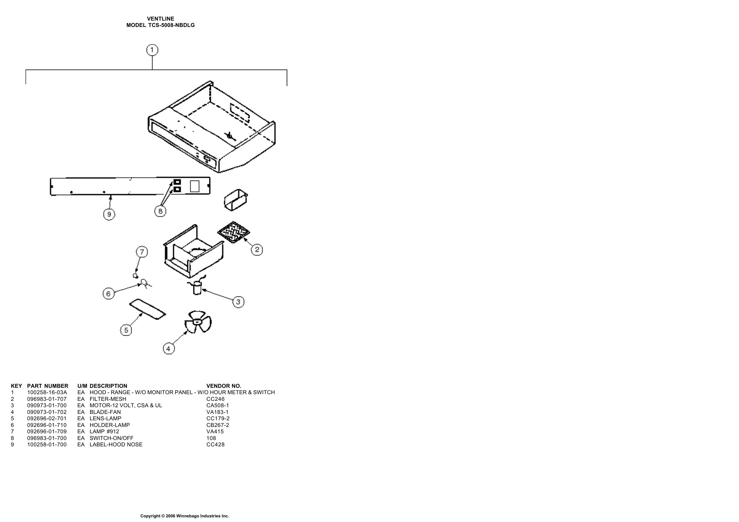 1998 Monitor Hood Panel Service Parts Catalog Ventline Wiring Diagram