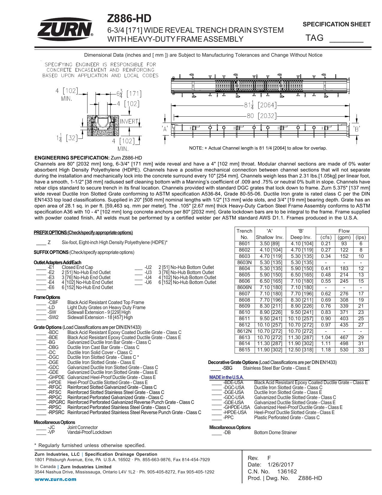 Z886-HD - Zurn Industries | manualzz com