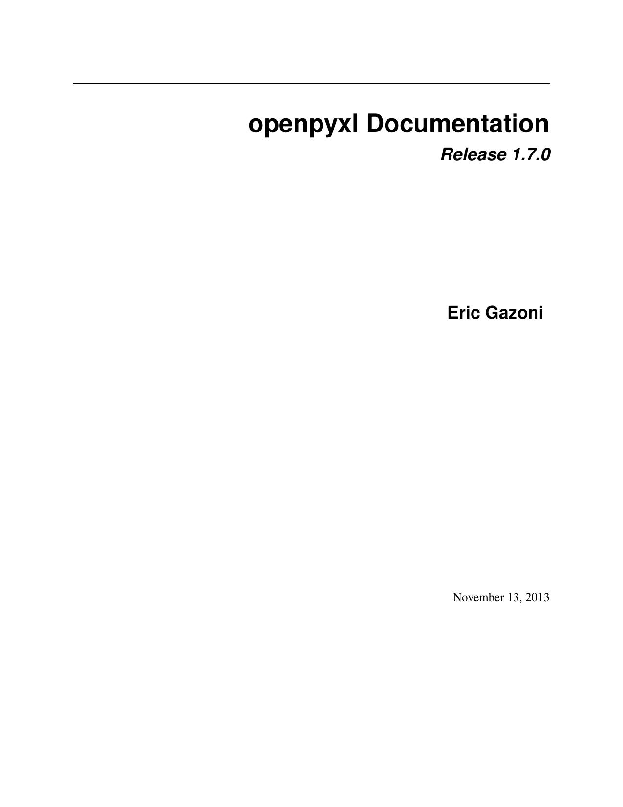 openpyxl Documentation   manualzz com