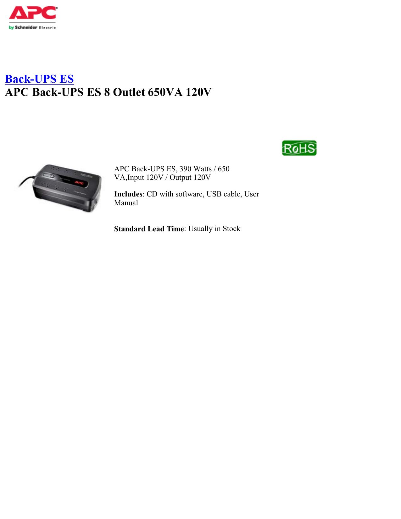 Back-UPS ES APC Back-UPS ES 8 Outlet 650VA 120V | manualzz com