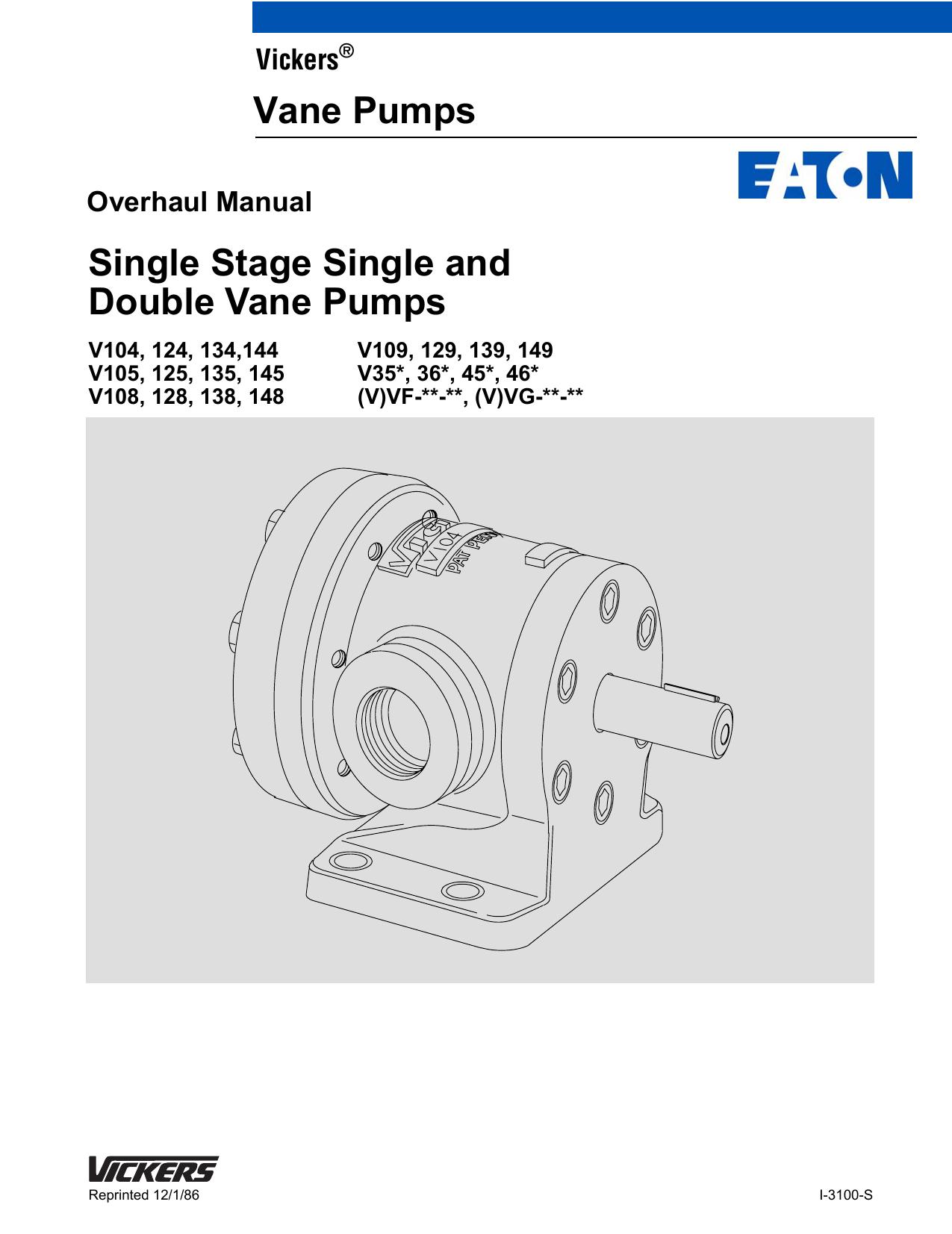 Single Stage Single and Double Vane Pumps Vane | manualzz com