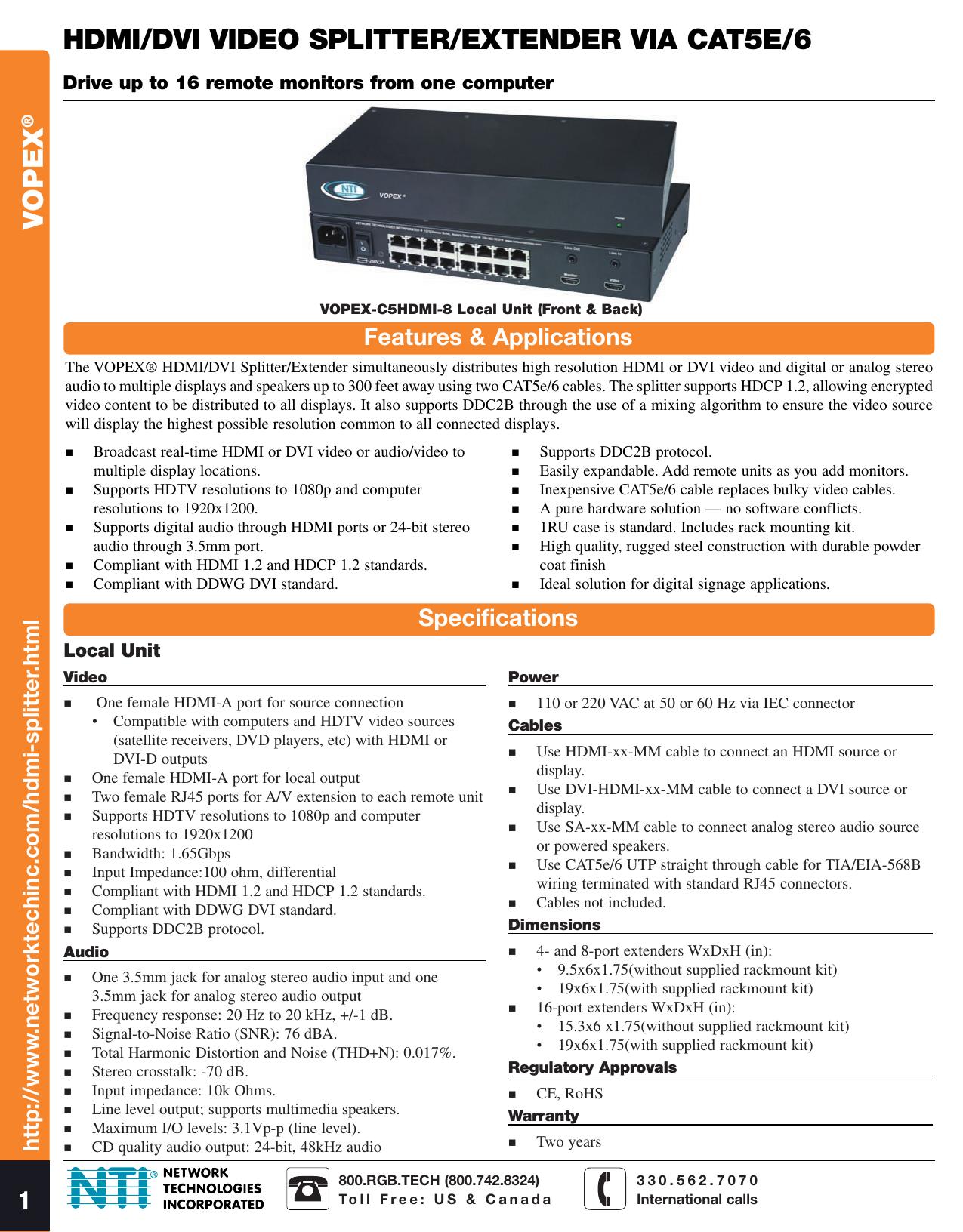 HDMI DVI Splitter Extender CAT5e/6 UTP RJ45 up to 16