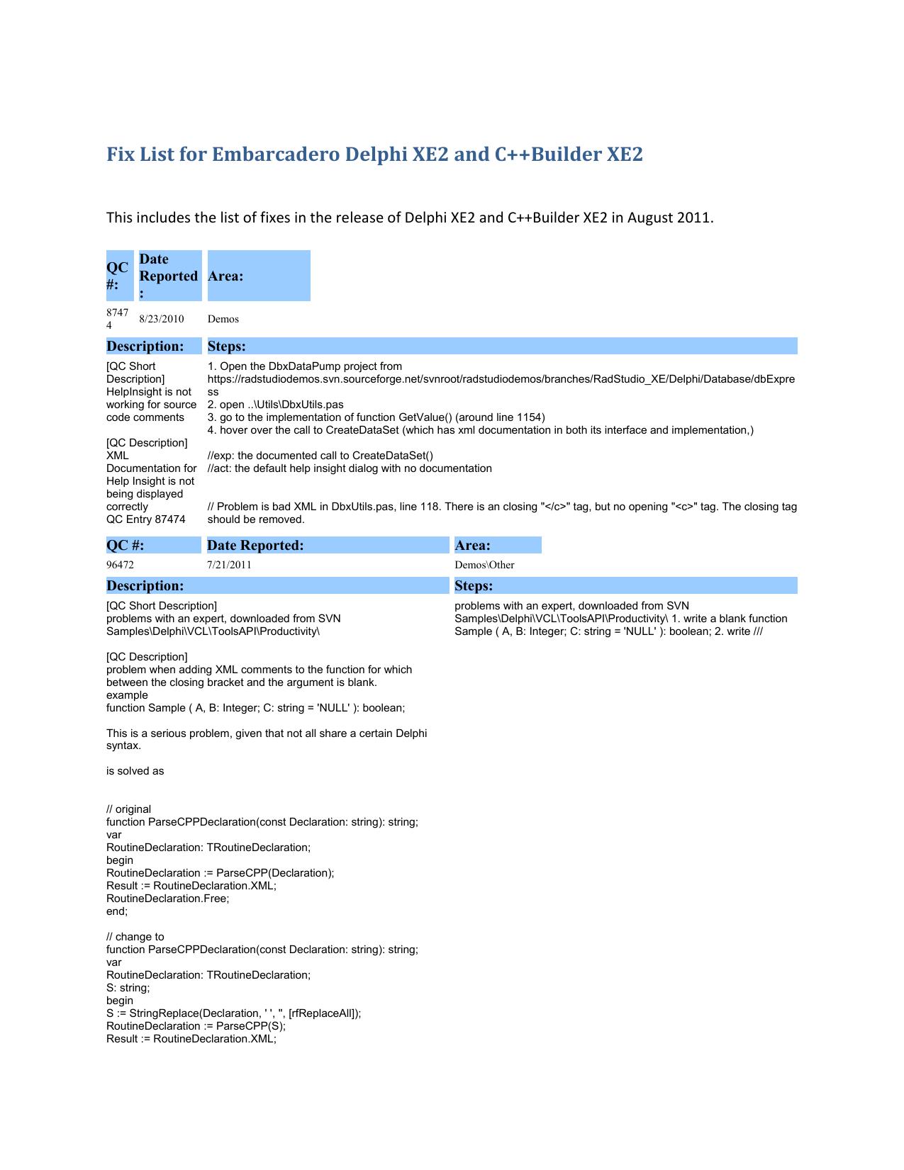 Fix List for Embarcadero Delphi XE2 and C++Builder | manualzz com