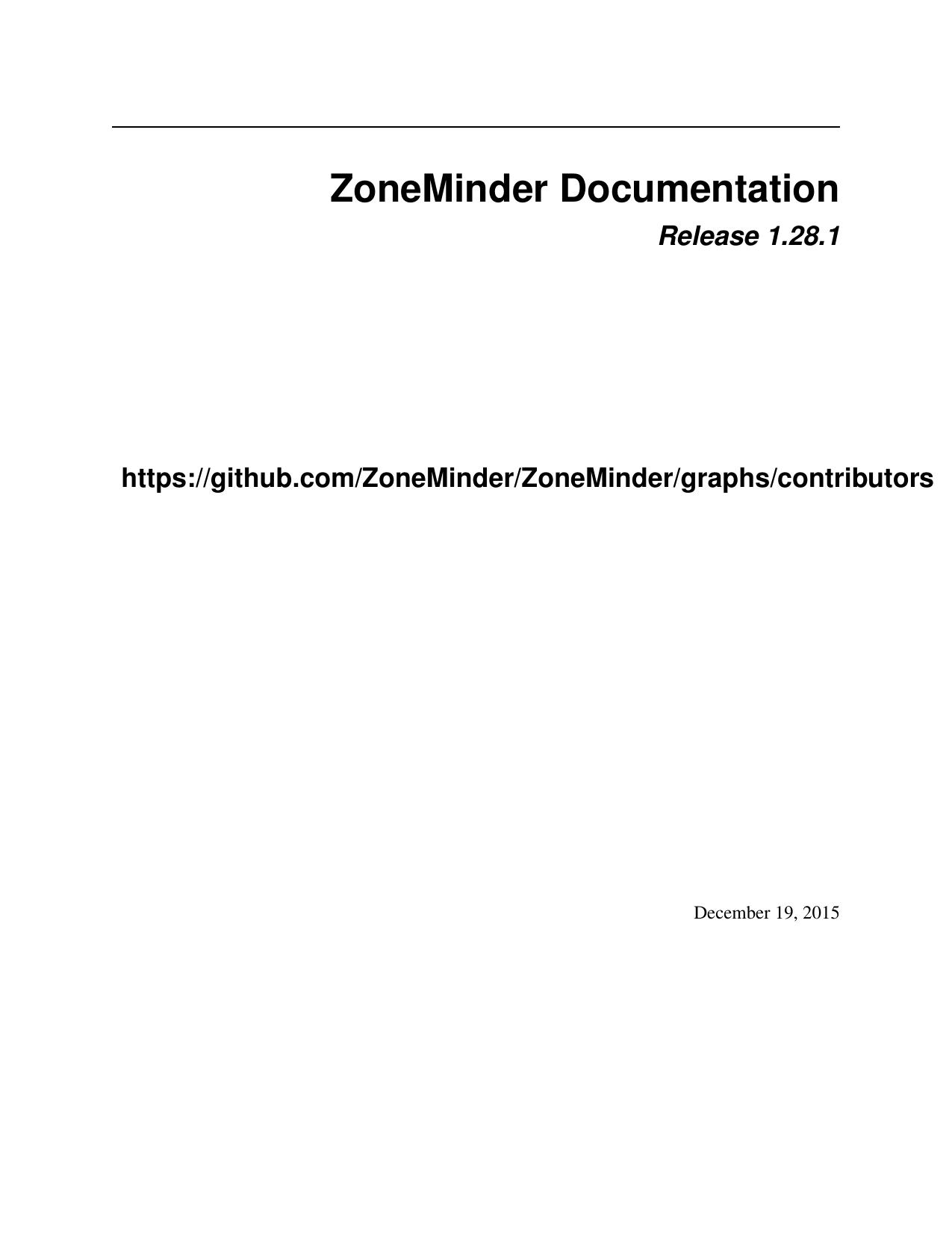 ZoneMinder Documentation   manualzz com