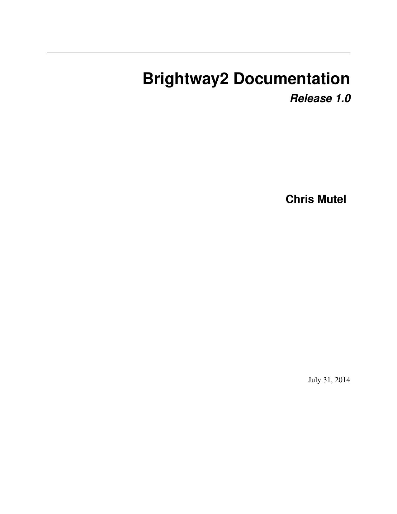 Brightway2 Documentation | manualzz com