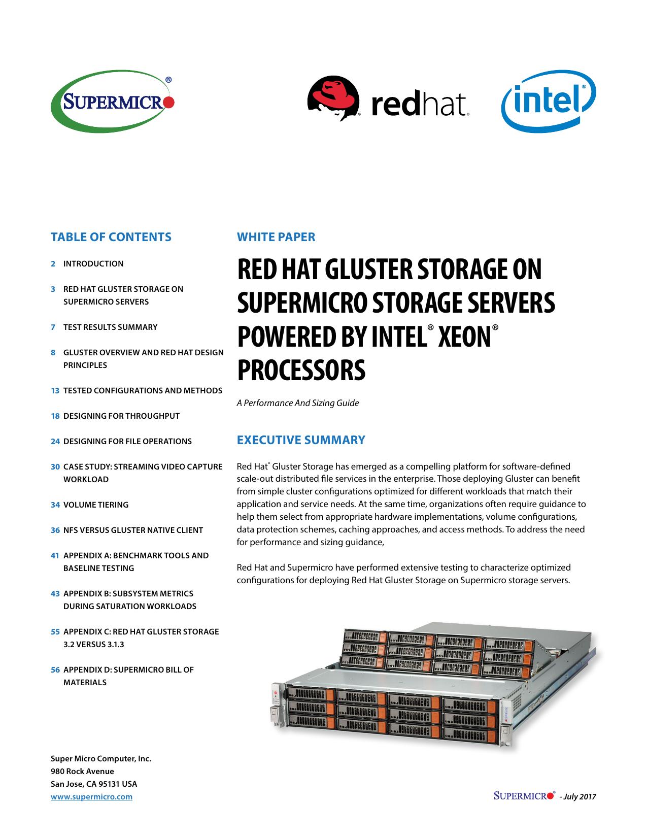 Red Hat Gluster Storage On Supermicro Storage Servers Power