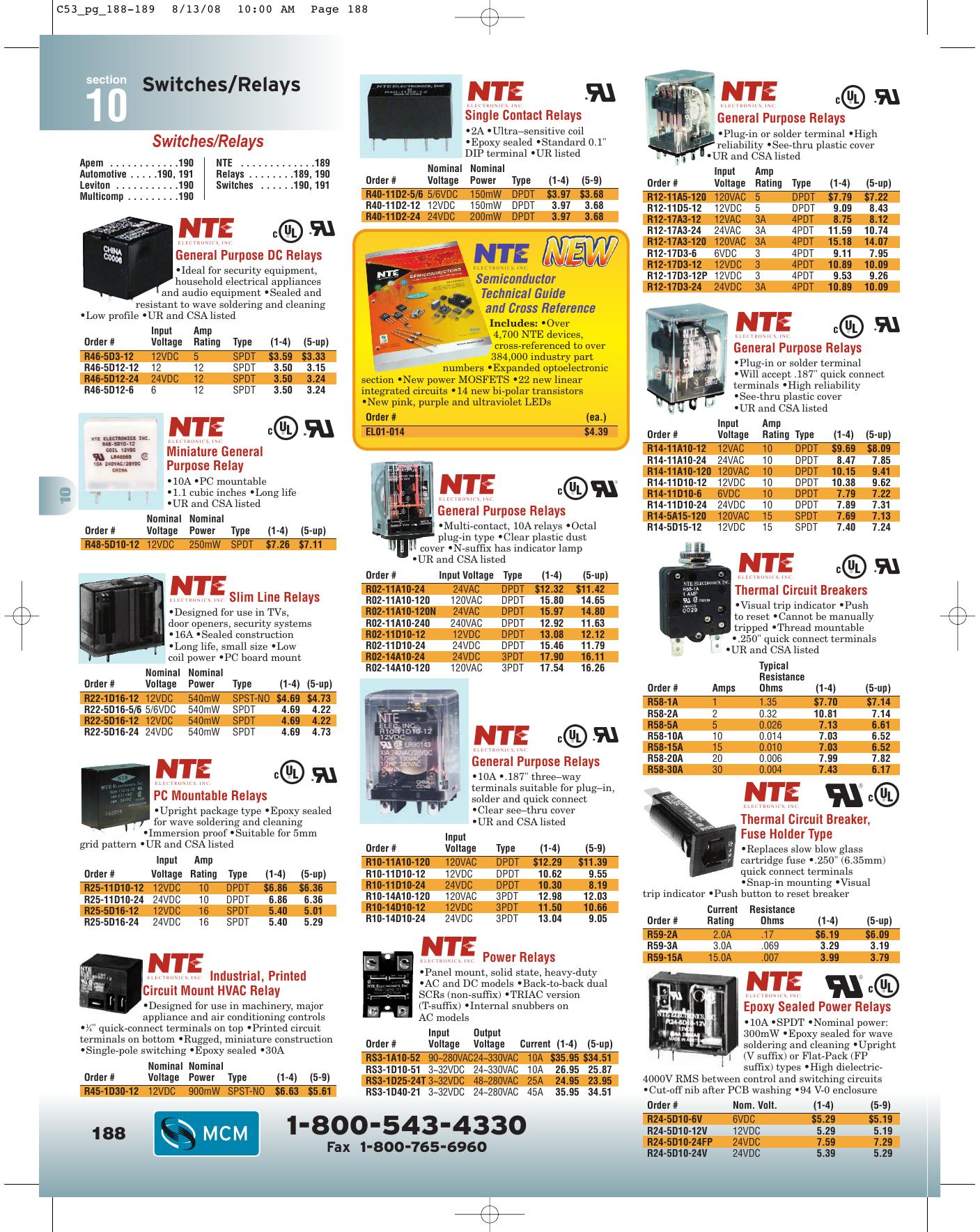 NTE R40-11D2-5//6 RELAY DC 5//6V 2A