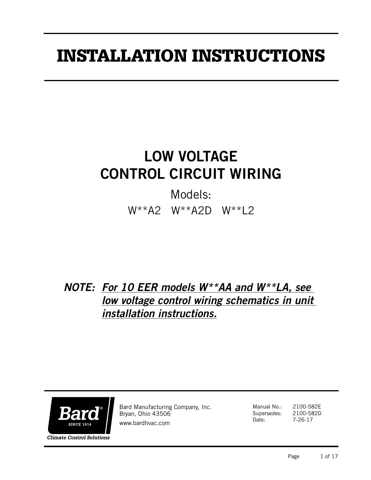 2100 582 Bard Hvac Wiring Diagrams
