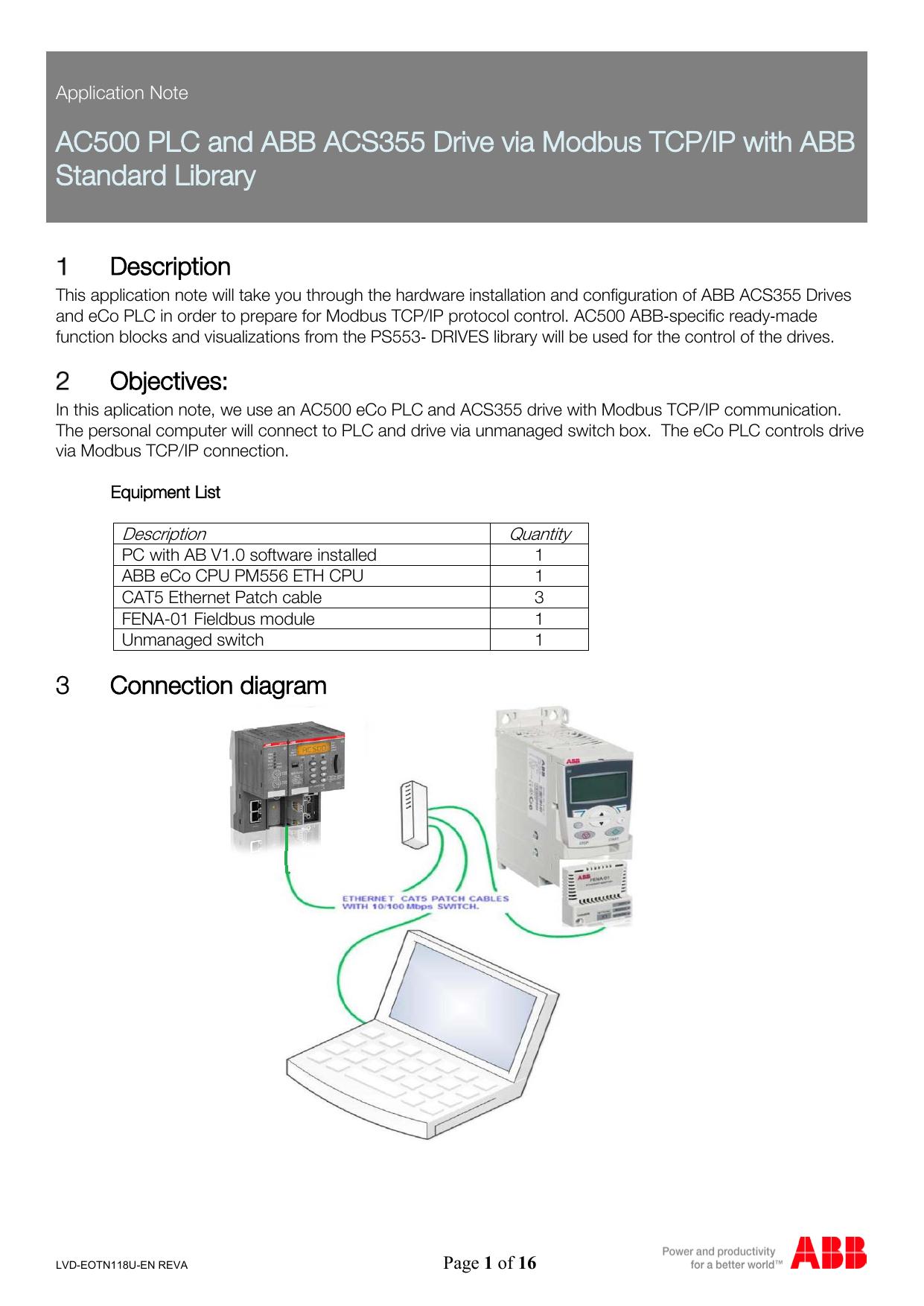 abb acs355 wiring diagram ac500 plc and abb acs355 drive via modbus tcp manualzz  plc and abb acs355 drive via modbus tcp
