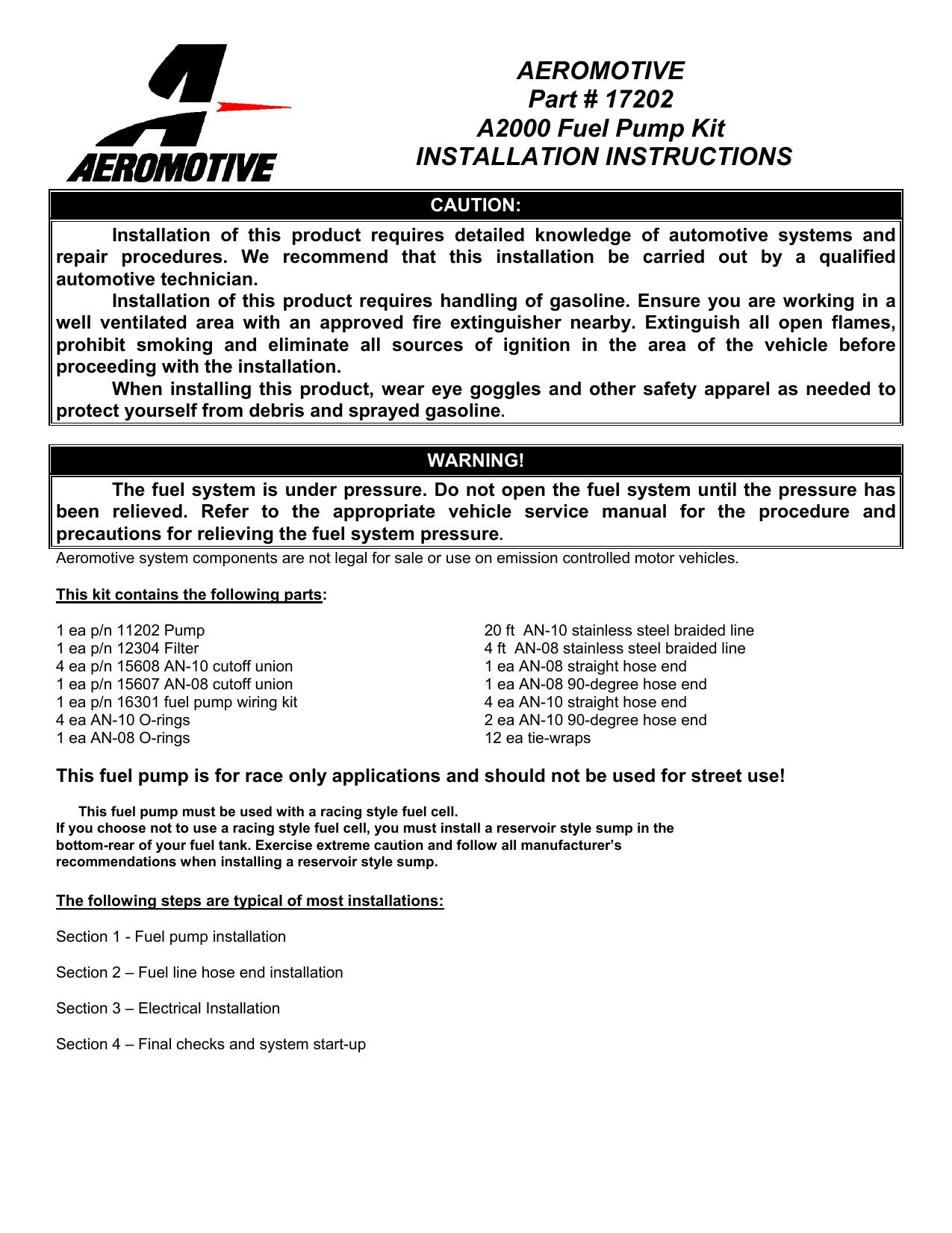 Aeromotive 5 Blade Relay Wiring Diagram Data Diagrams Pin Fuel Pump Part 17202 A2000 Kit Manualzz Com Rh 8