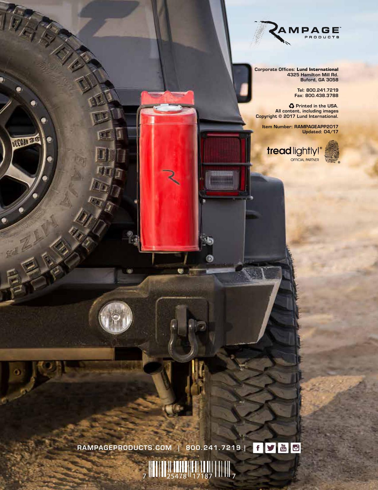 Rampage 8625 Body Side Step Bar Smooth Black fits 87-06 Wrangler