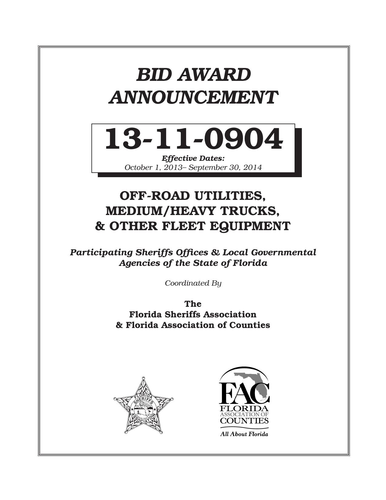 bid award announcement - Florida Sheriffs Association