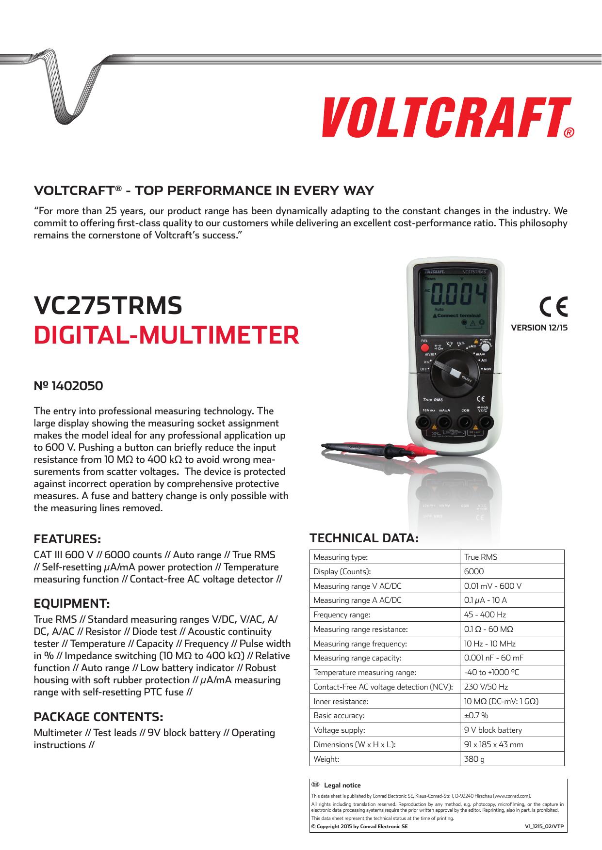 Vc275trms Digital Multimeter Manualzz