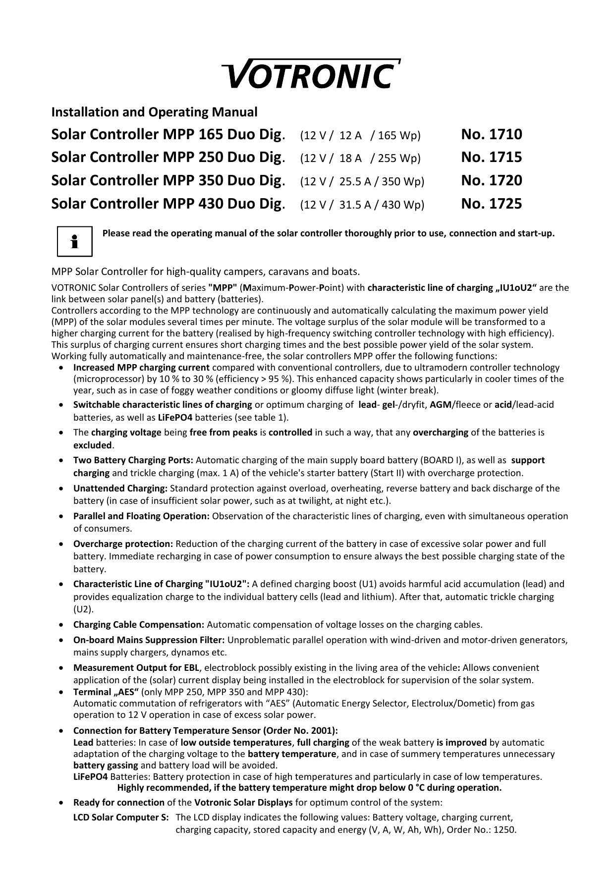 12V Votronic Solar-Regler MPP 165 Duo Dig MPP165