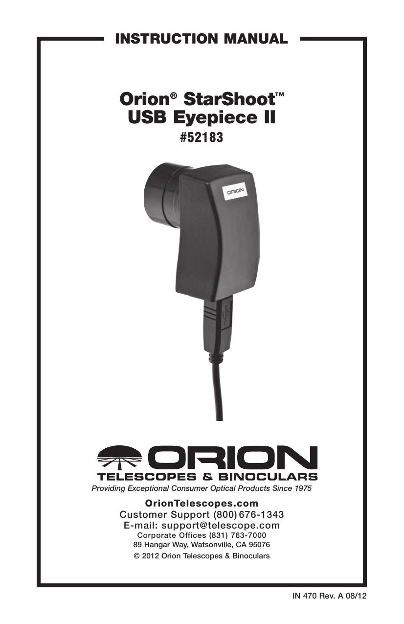 Orion® StarShoot™ USB Eyepiece II   manualzz com