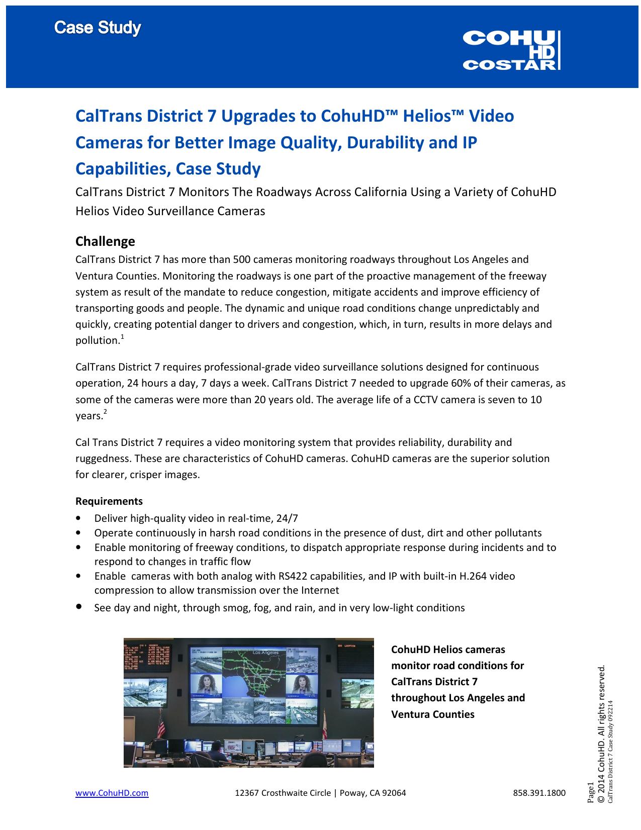 CalTrans District 7 Upgrades to CohuHD™ Helios™ Video Cameras