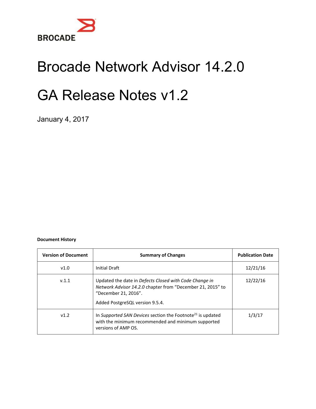 Brocade Network Advisor 14 2 0 GA Release Notes v1 2