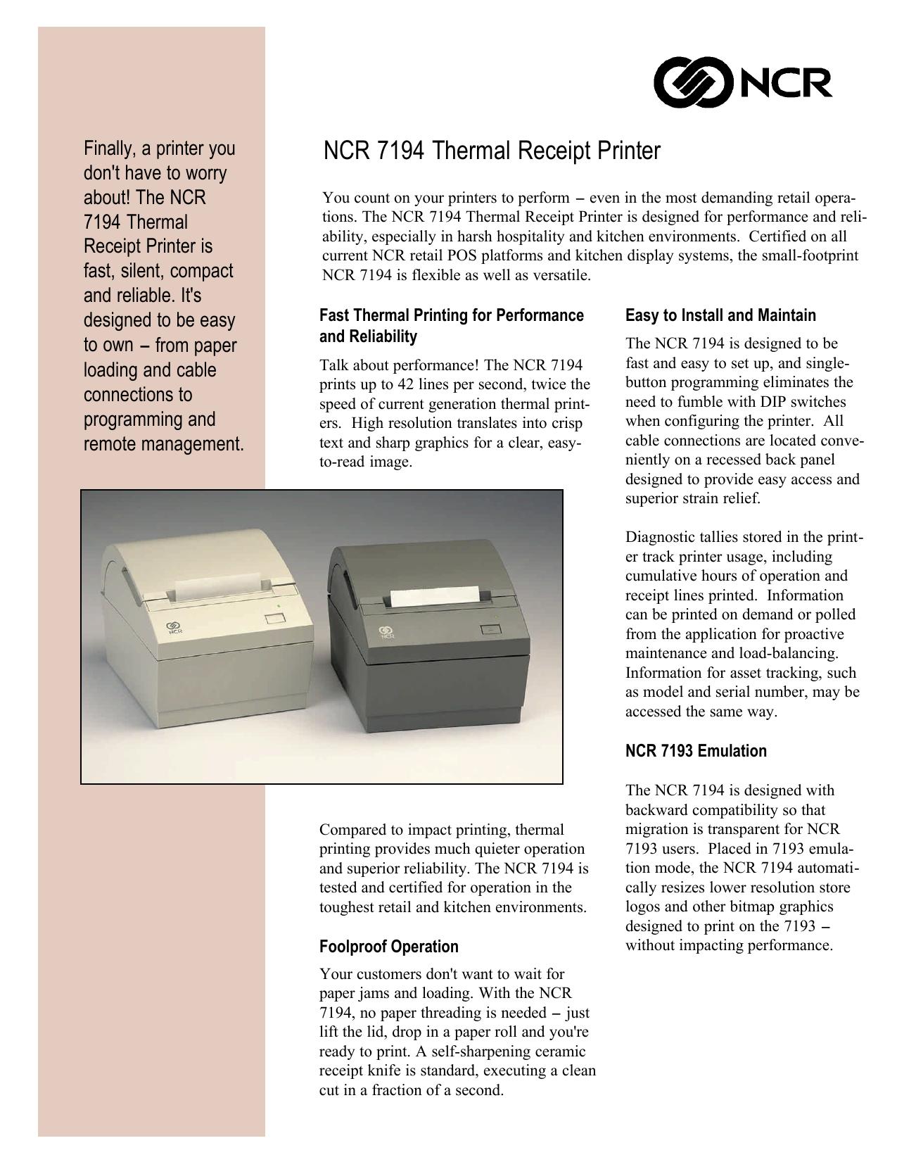 NCR 7194 Thermal Receipt Printer   manualzz com