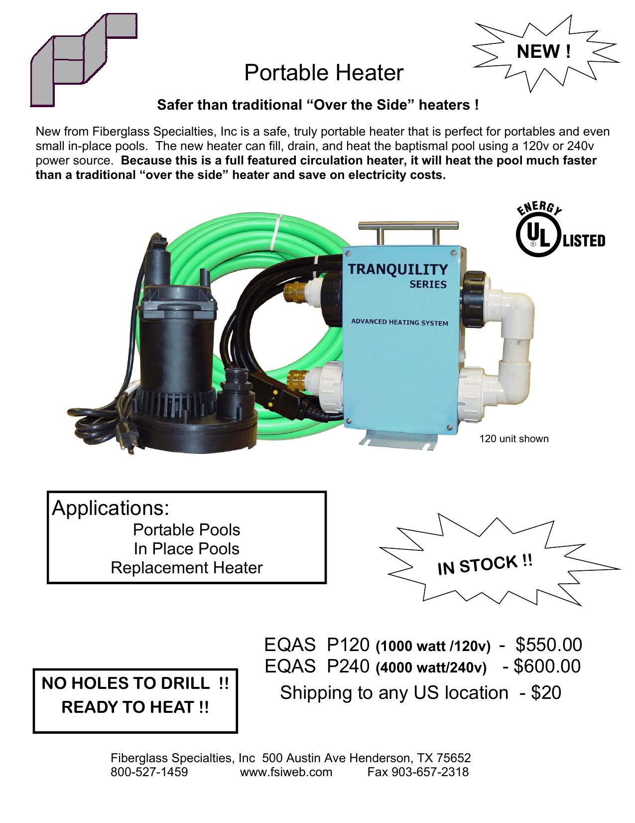EQAS Portable Heater - Fibergl Specialties, Inc.   manualzz.com on pool heater flow diagram, hayward pool heater diagram, hot water tank wiring diagram, central air wiring diagram, dryer wiring diagram, boiler wiring diagram, jacuzzi wiring diagram, spa wiring diagram, 5 wire thermostat wiring diagram, solar wiring diagram, pool heater plumbing diagram, lights wiring diagram, pool heater installation, fan wiring diagram, gas stove wiring diagram, heating wiring diagram, a/c wiring diagram, electrical wiring diagram, pool wiring code diagrams, deck wiring diagram,