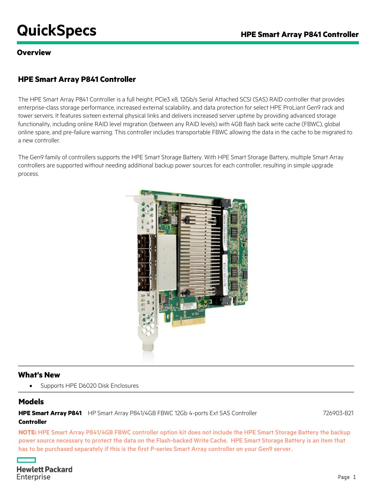 Hpe Smart Array P841 Controller Sas Sata With Encryption