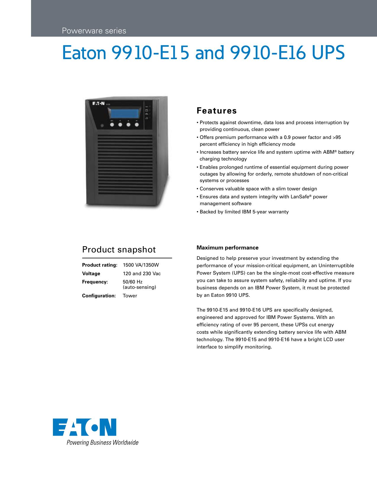 Eaton 9910-E15 and 9910 | manualzz com