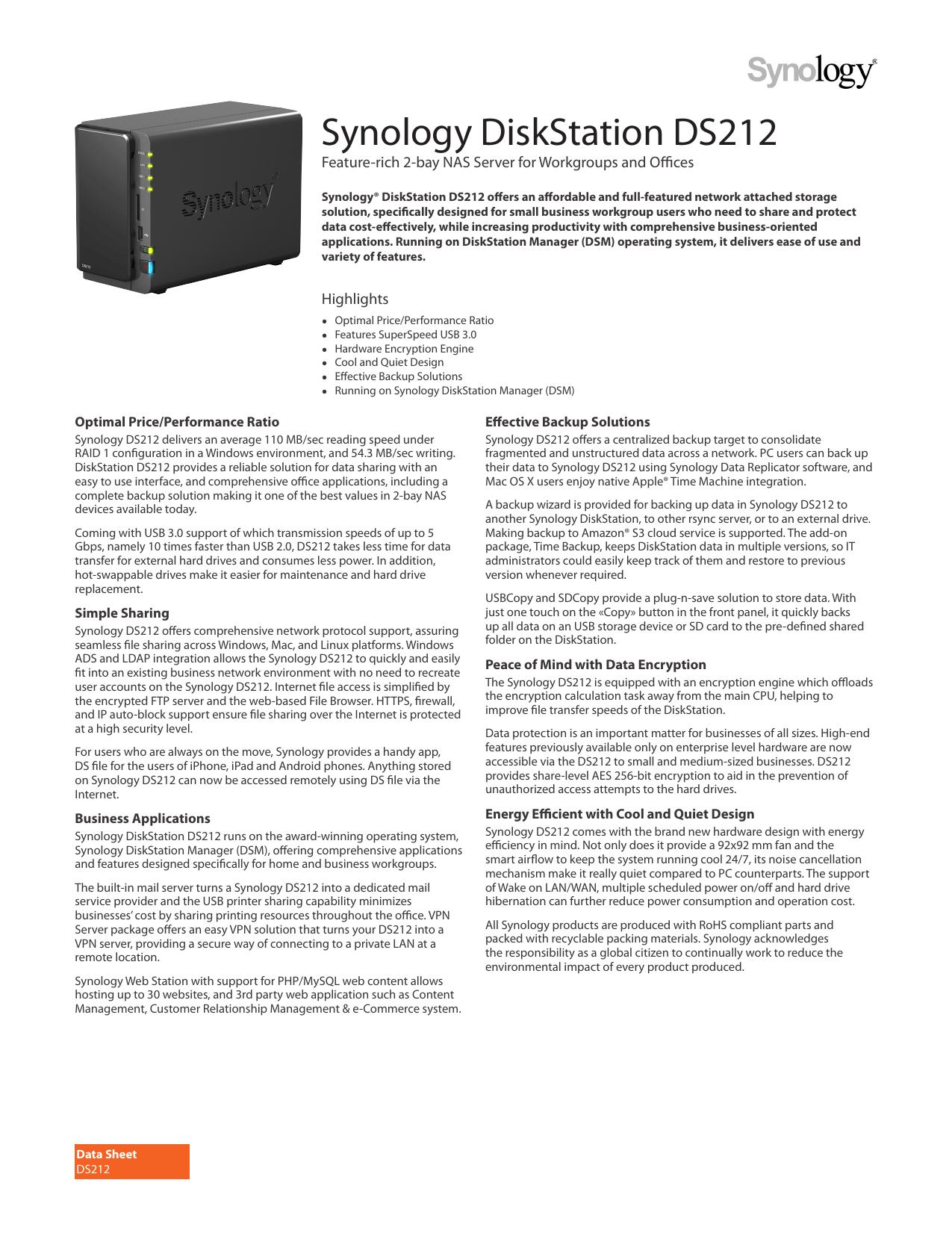 Synology DiskStation DS212 | manualzz com