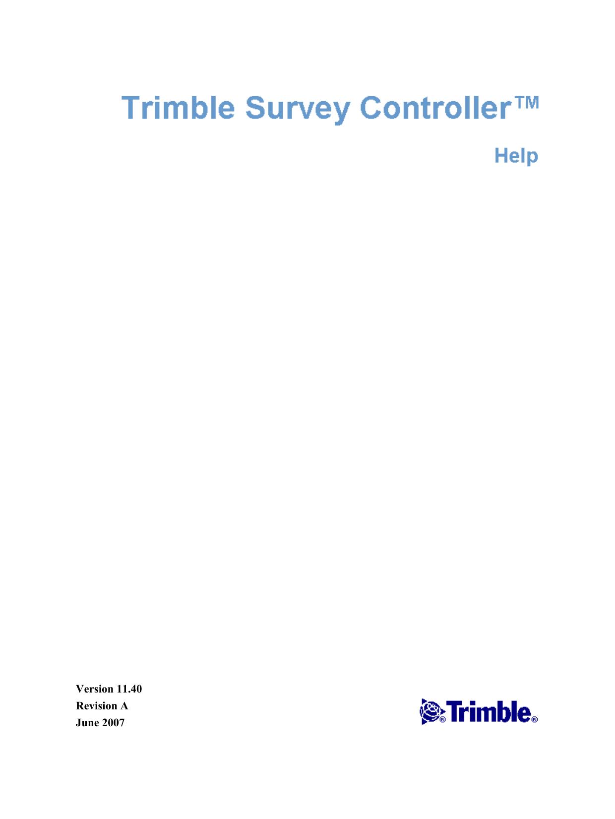 Trimble Survey Controller software v11 40 Help | manualzz com