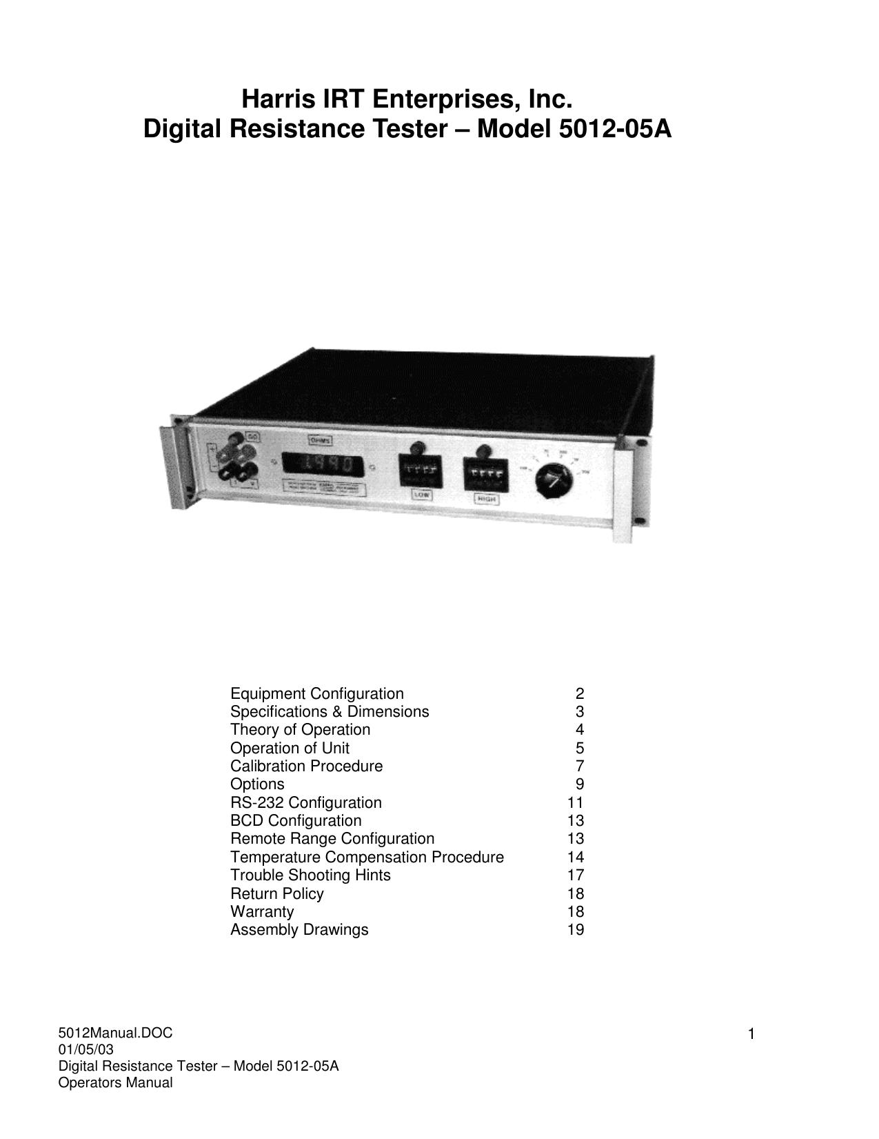 Model 5012-05A - Harris Industrial Resistance Testers | manualzz com