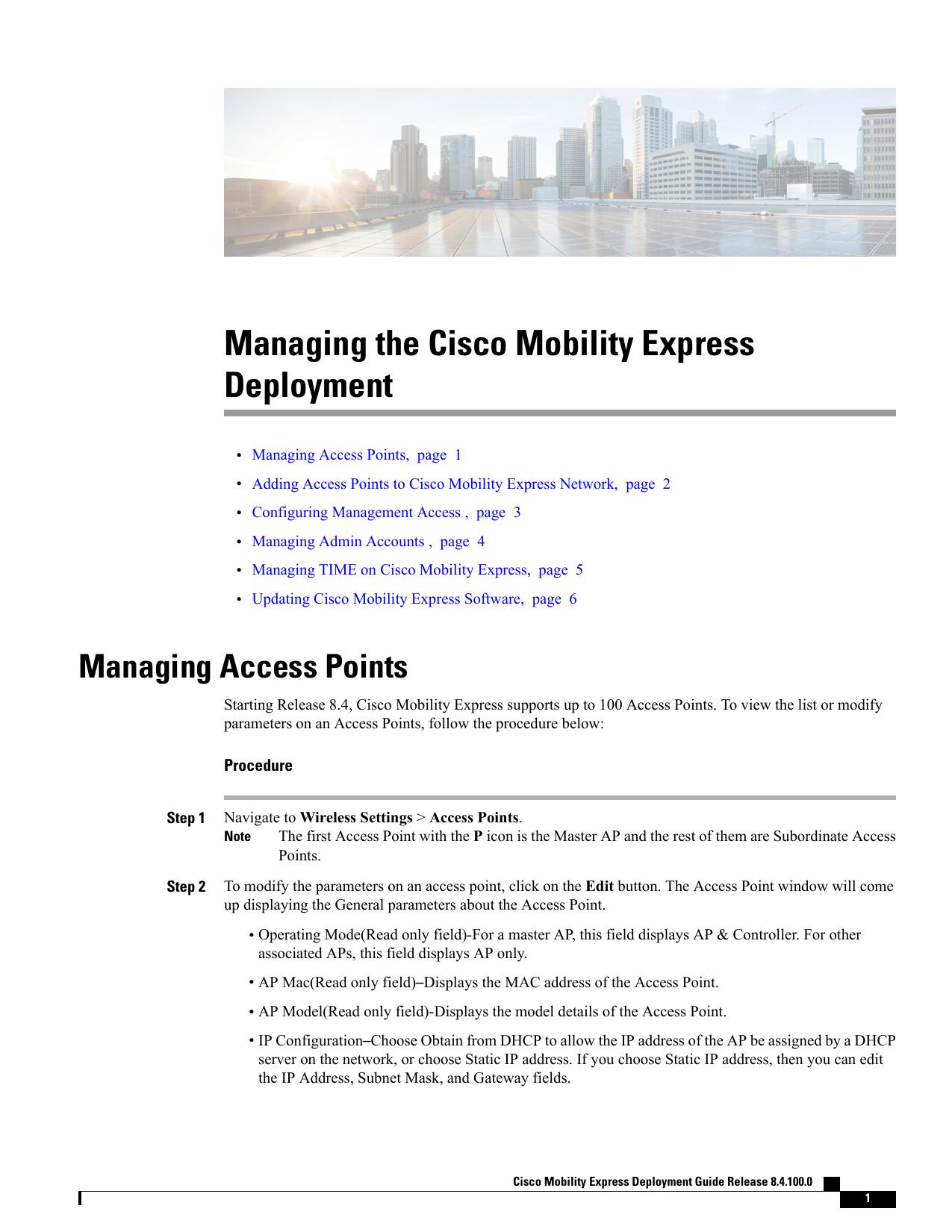 Managing the Cisco Mobility Express Deployment | manualzz com