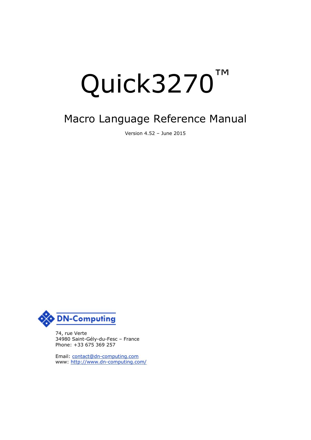 Quick3270 Macro - DN | manualzz com