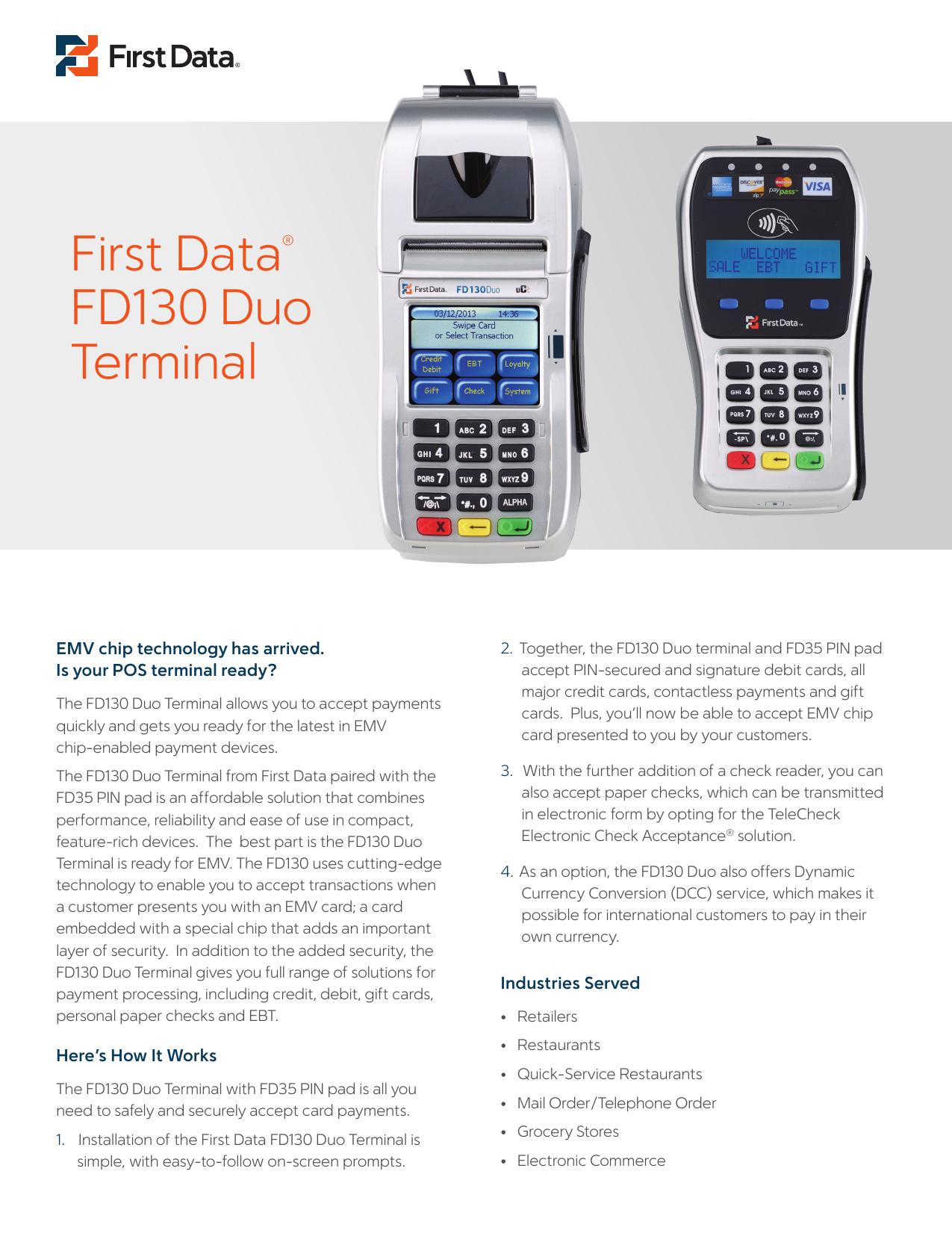 First Data® FD130 Duo Terminal | manualzz com