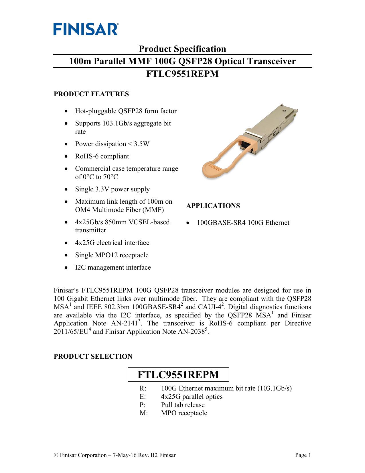 Finisar FTLC9551REPM 100GBASE   manualzz com