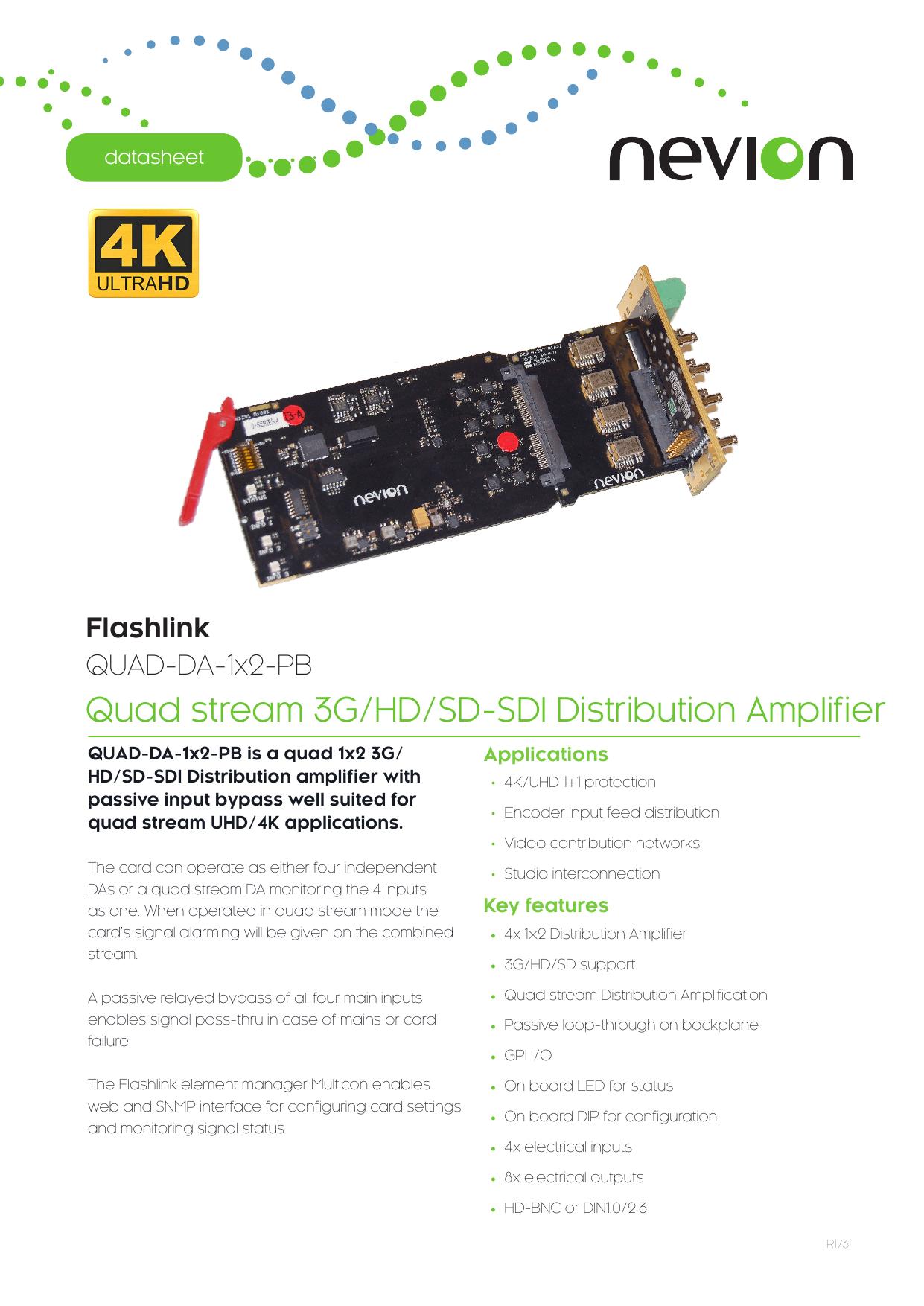 Quad stream 3G/HD/SD-SDI Distribution Amplifier | manualzz com
