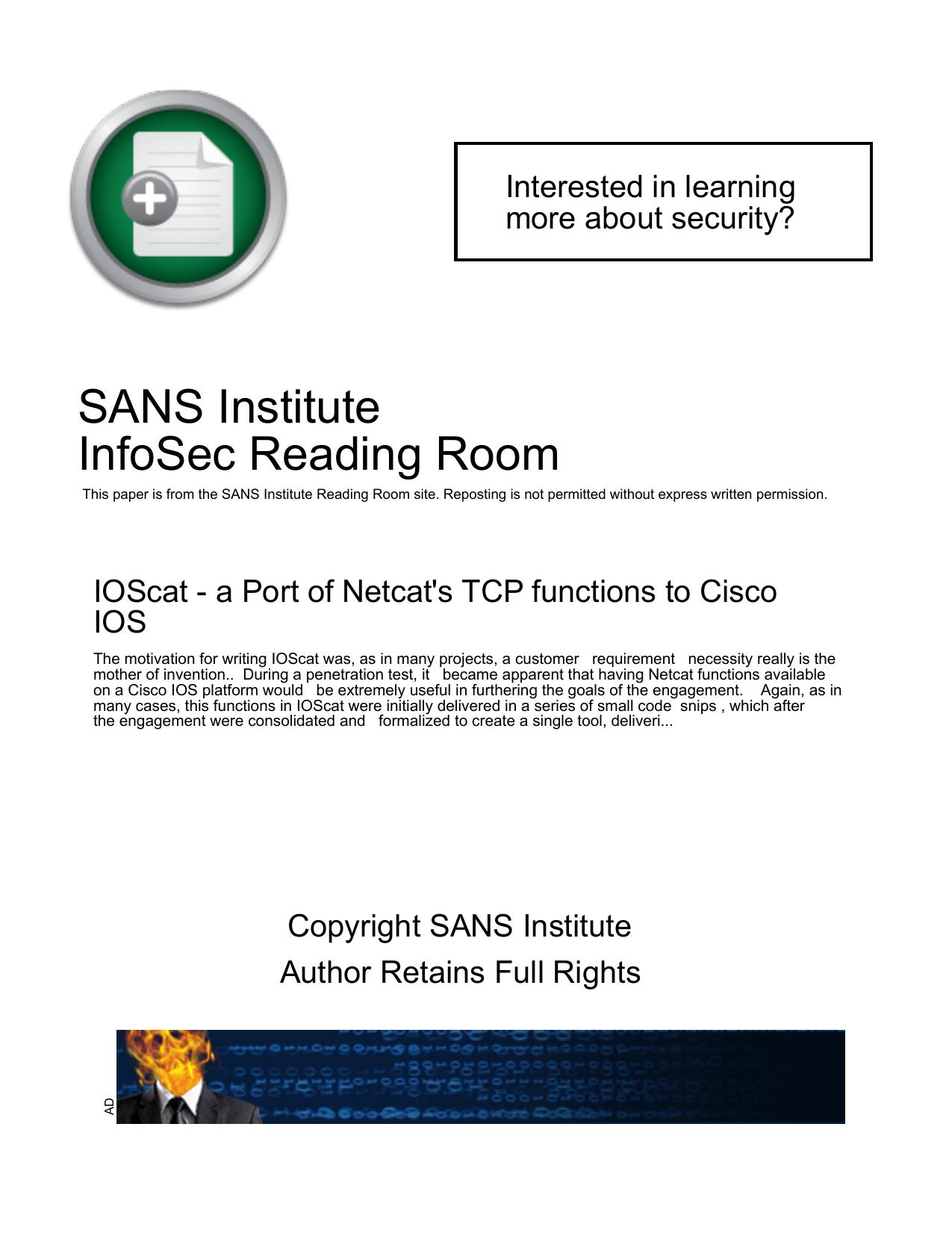 IOScat - a Port of Netcat`s TCP functions to Cisco IOS | manualzz com