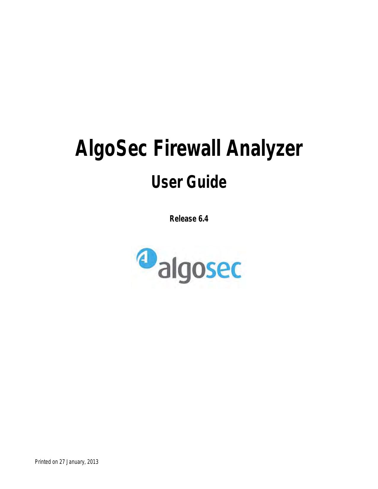 AlgoSec Firewall Analyzer | manualzz com