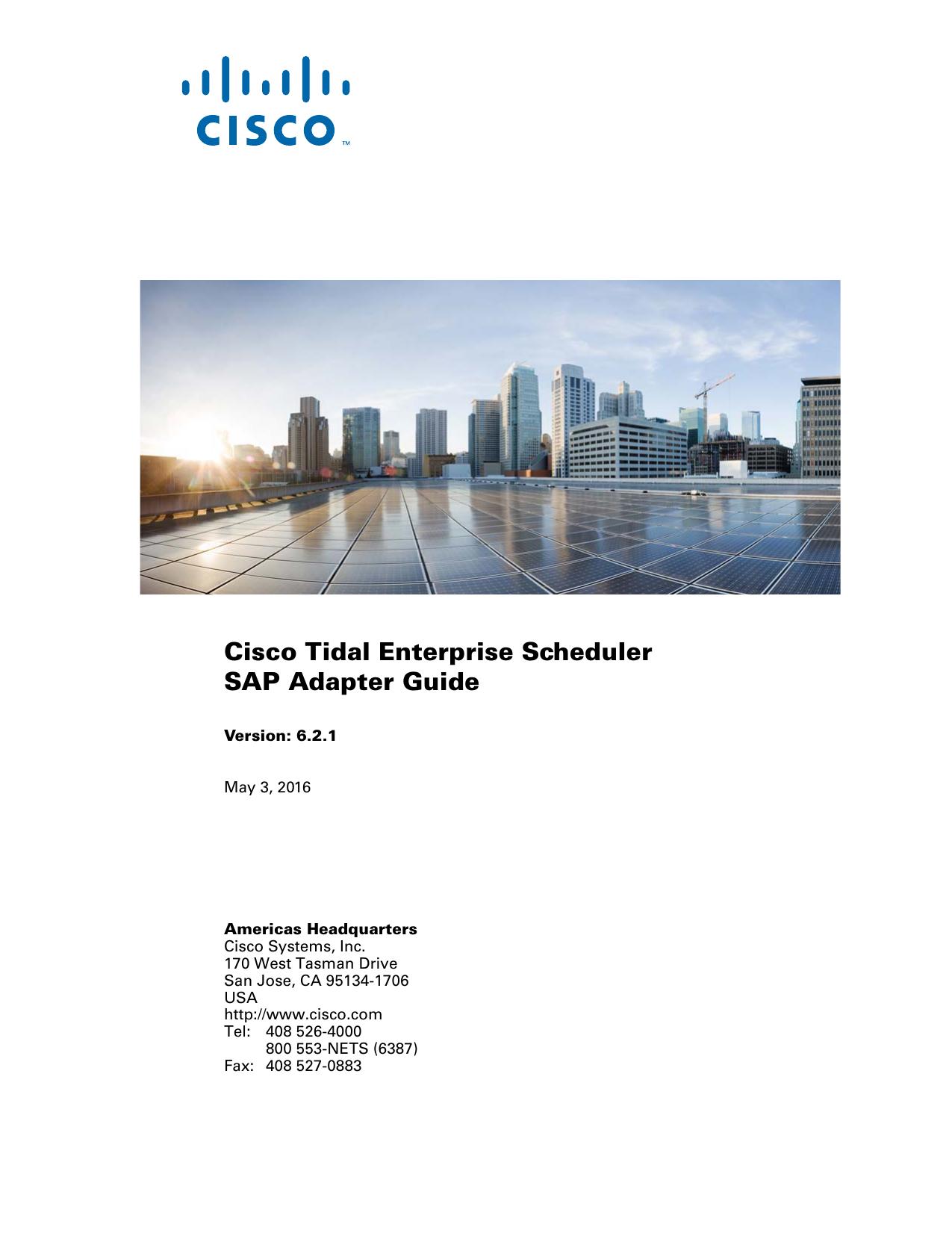Cisco Tidal Enterprise Scheduler SAP Adapter Guide