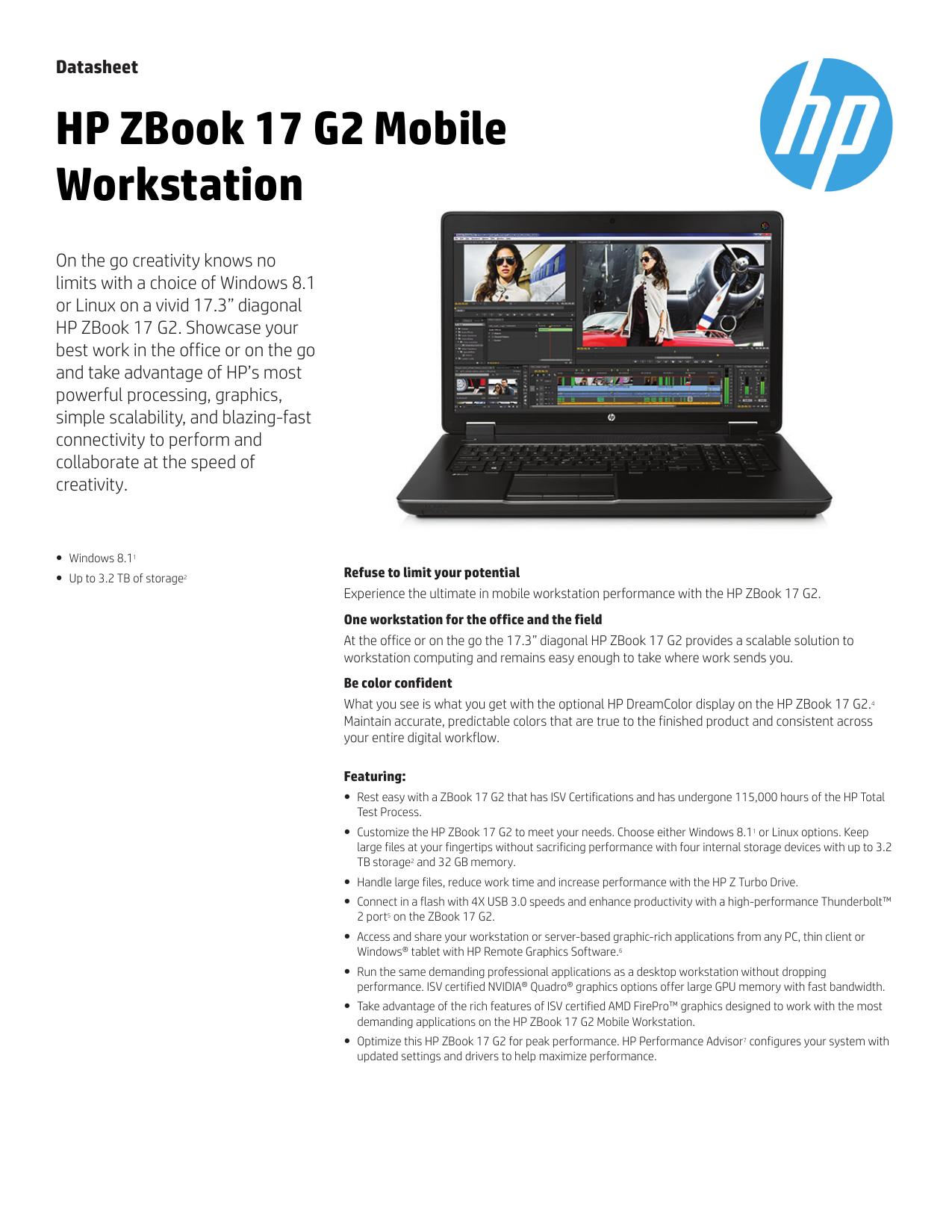 HP ZBook 17 G2 Mobile Workstation Datasheet | manualzz com