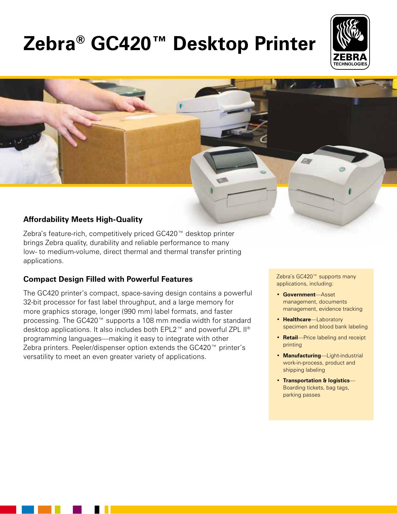 Zebra® GC420™ Desktop Printer | manualzz com