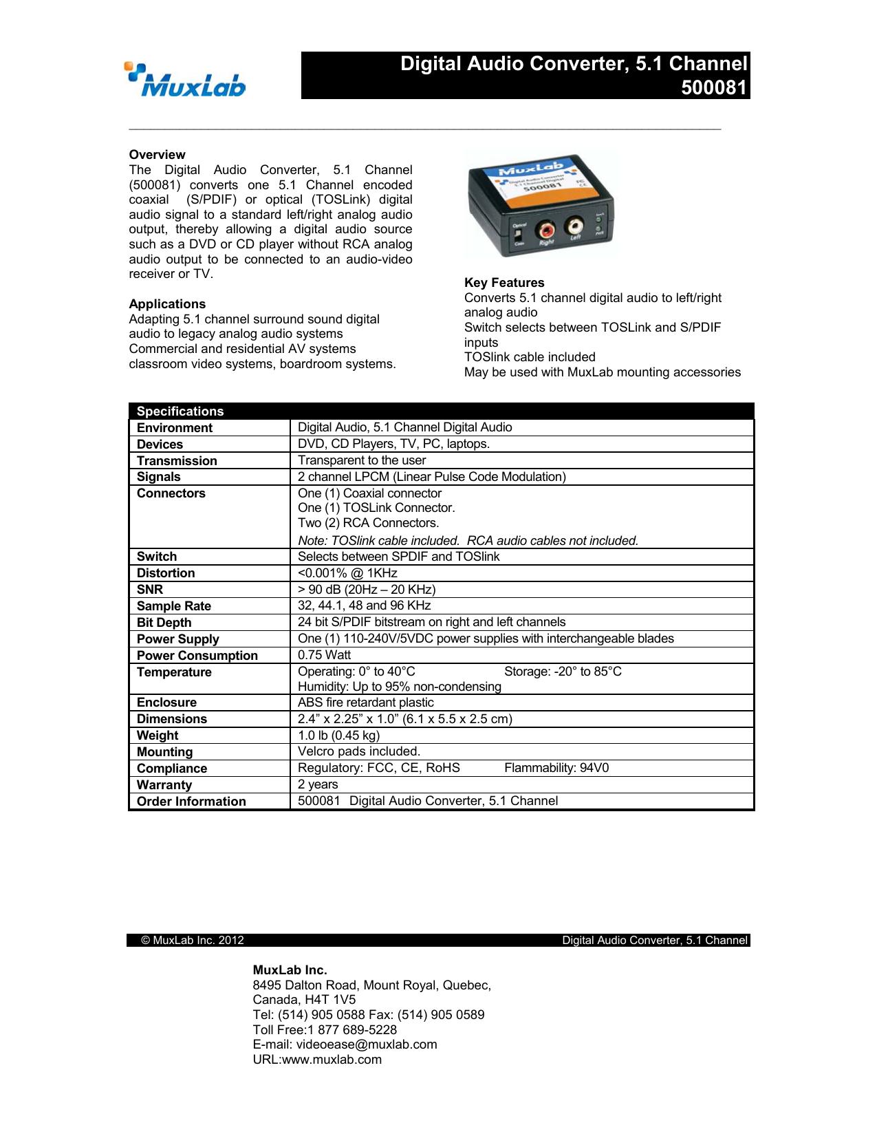 Digital Audio Converter, 5 1 Channel 500081   manualzz com