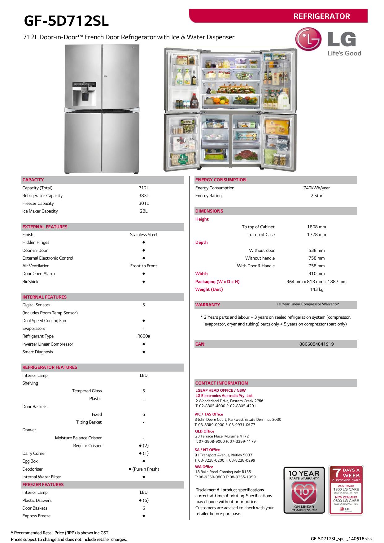 LG GF-5D712SL Specification | manualzz com