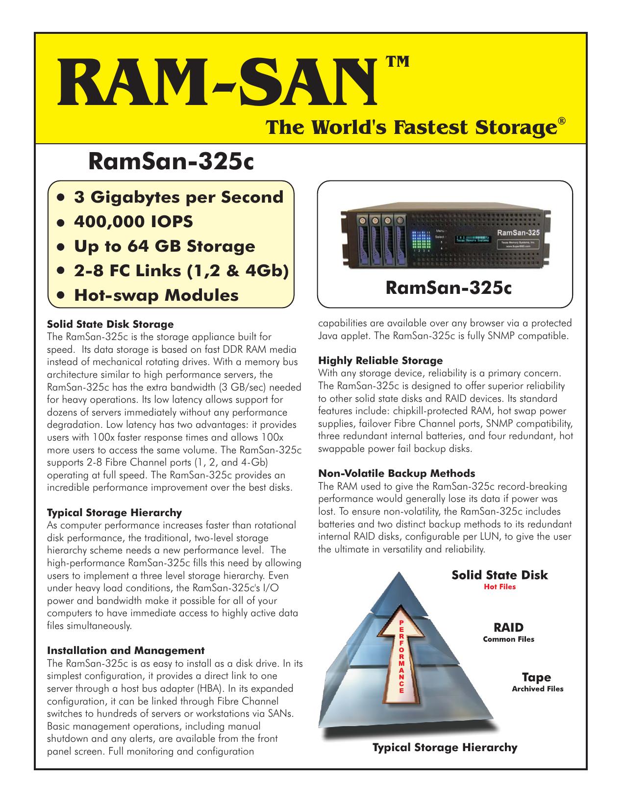 RamSan-325c 4Gb- DataSheet cdr | manualzz com