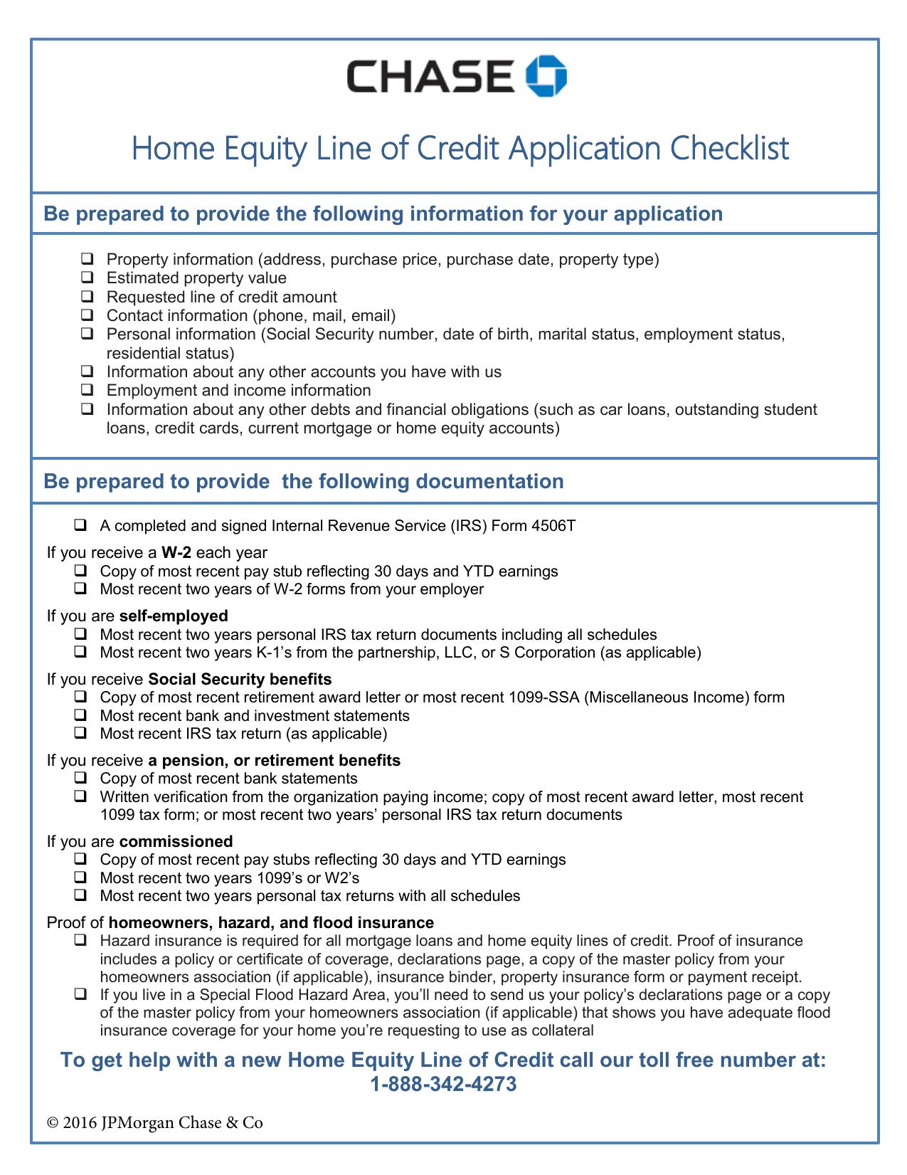 Home Equity Line Of Credit Application Checklist Manualzz Com