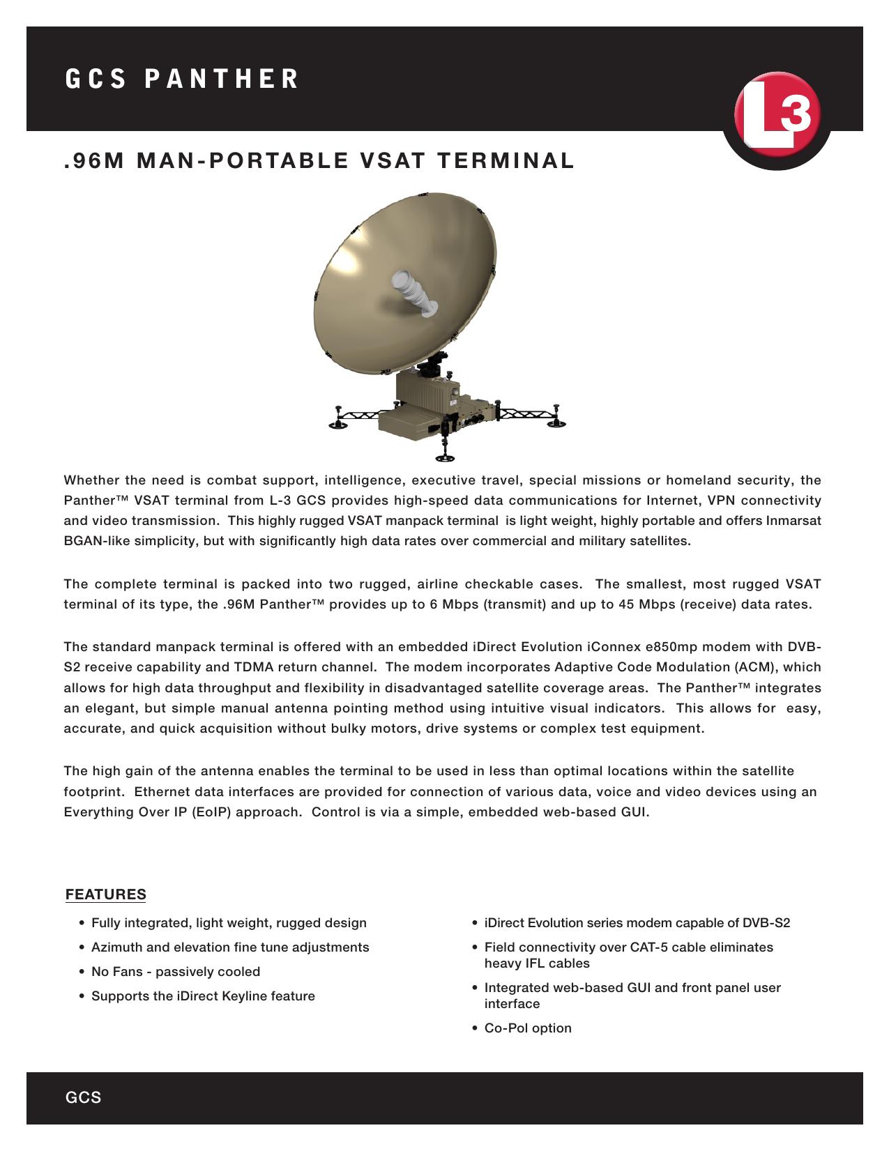L3 Panther  96M Manpack Portable VSAT System | manualzz com